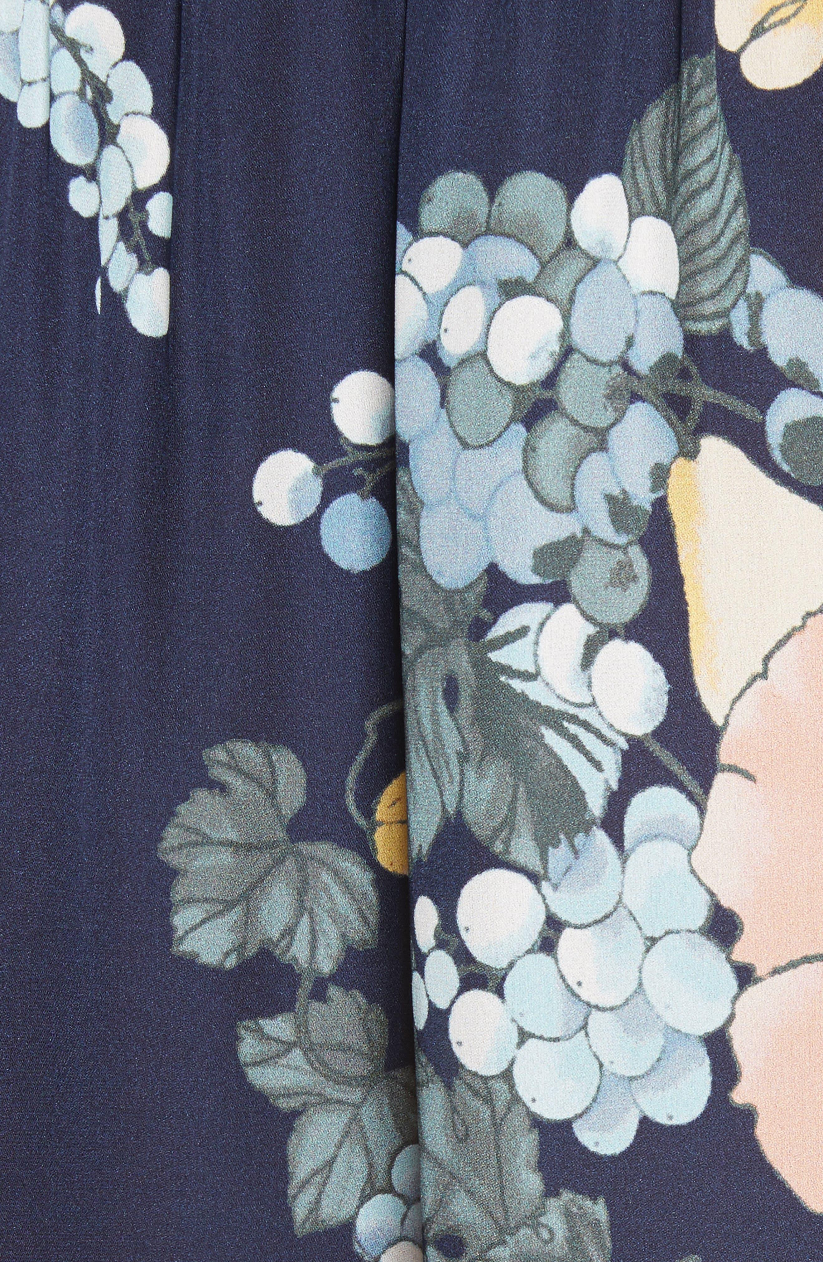 Amarant Print Silk Blouse,                             Alternate thumbnail 5, color,                             Dark Navy
