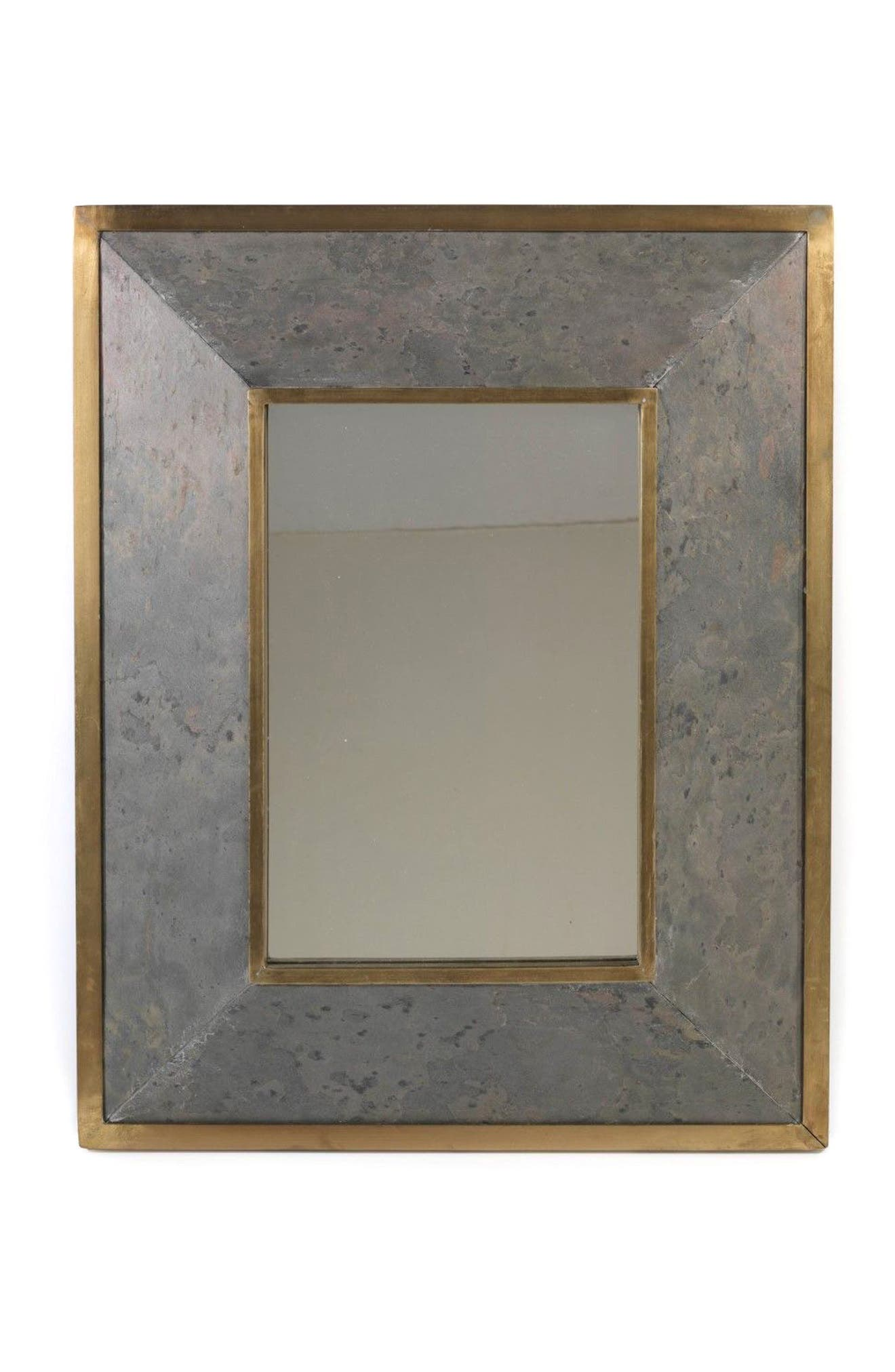 Lille Wall Mirror,                             Main thumbnail 1, color,                             Brown/ Silver/ Pewter