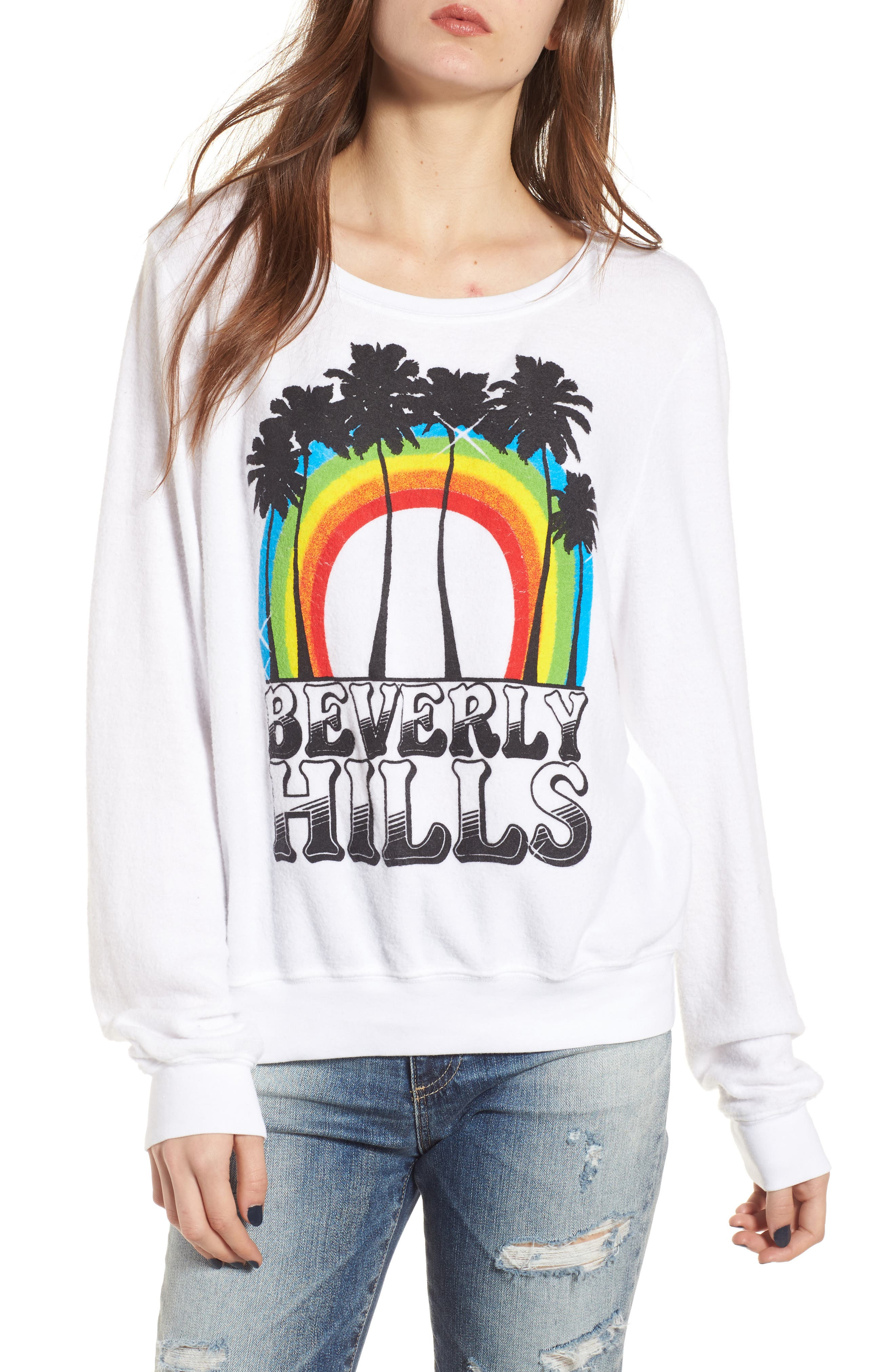 Beverly Hills Sweatshirt,                         Main,                         color, Clean White