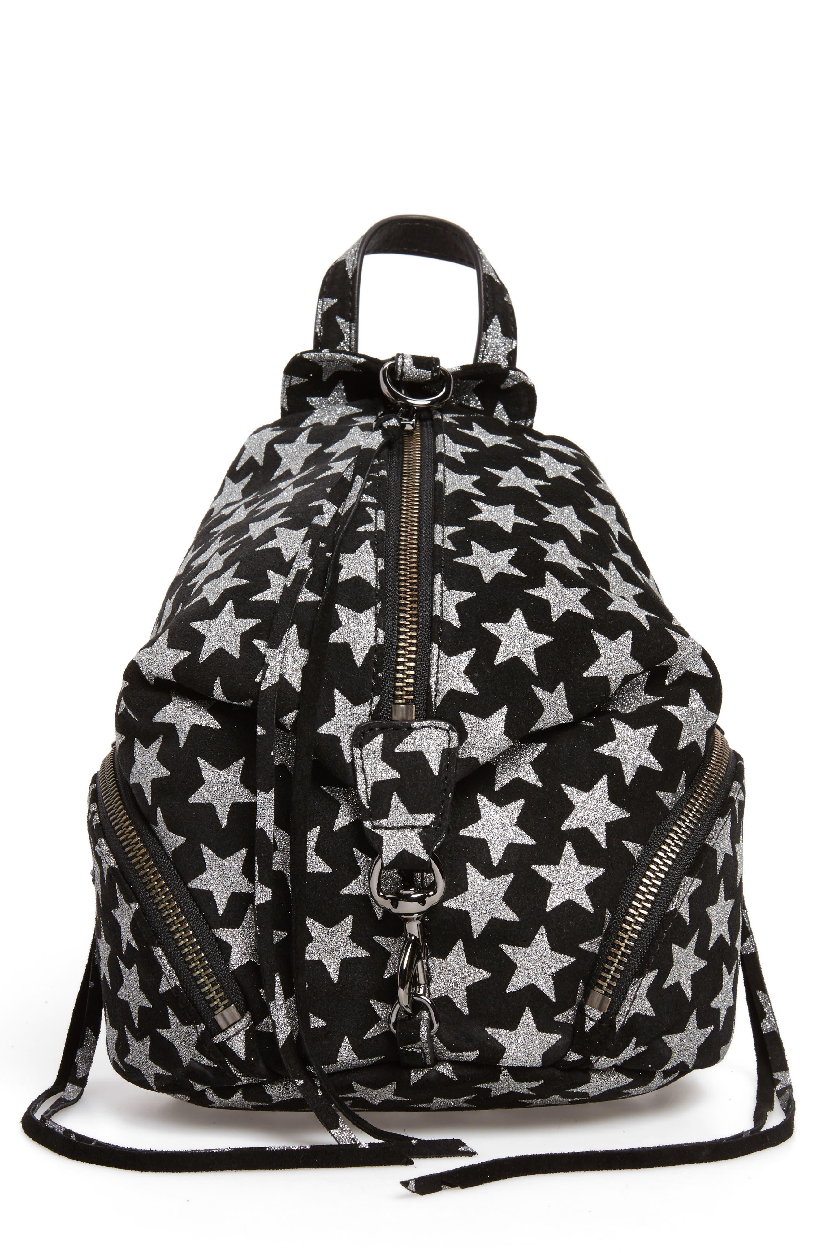 Mini Julian Metallic Star Nubuck Leather Convertible Backpack,                             Main thumbnail 1, color,                             Black