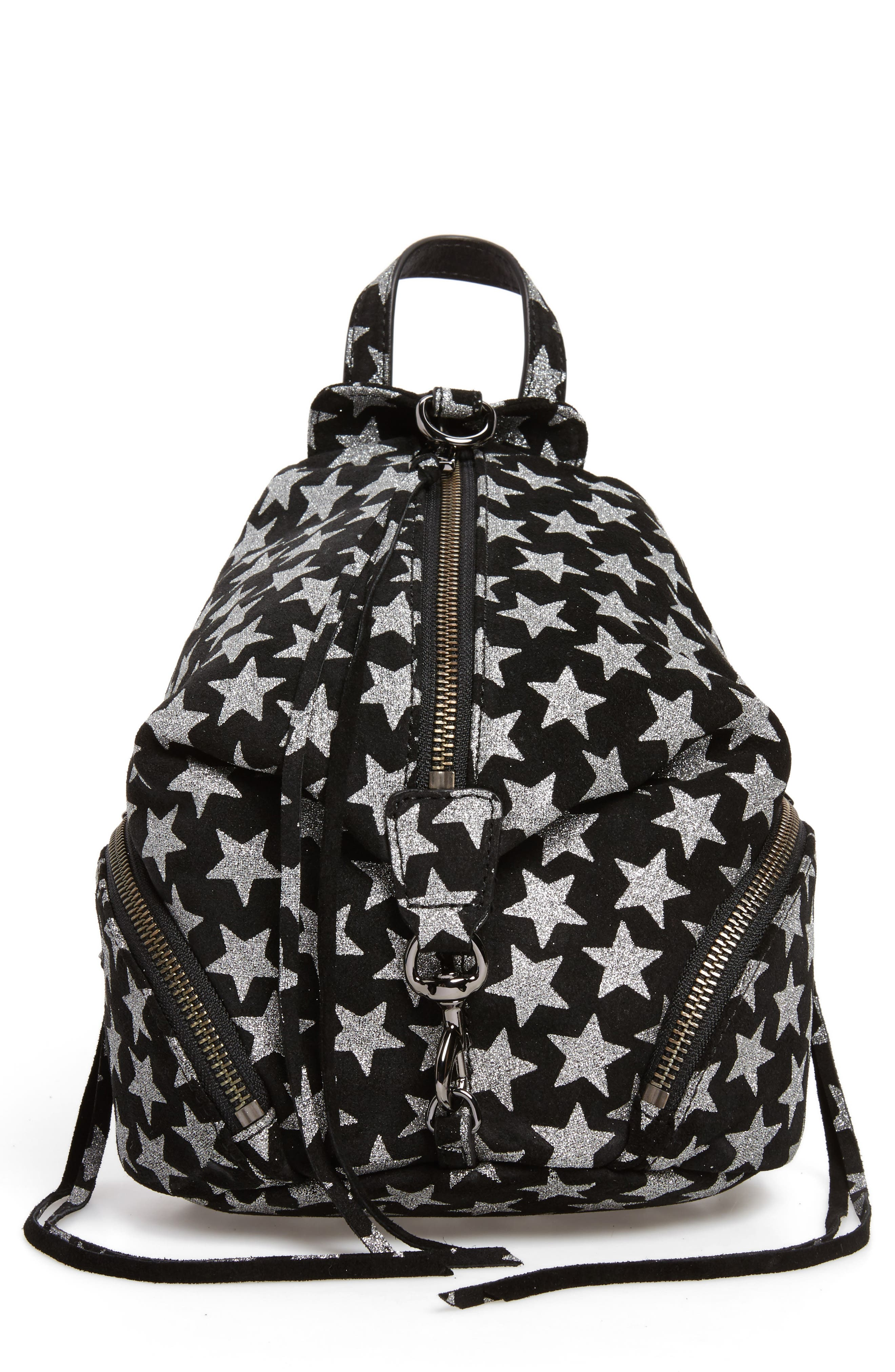 Mini Julian Metallic Star Nubuck Leather Convertible Backpack,                         Main,                         color, Black