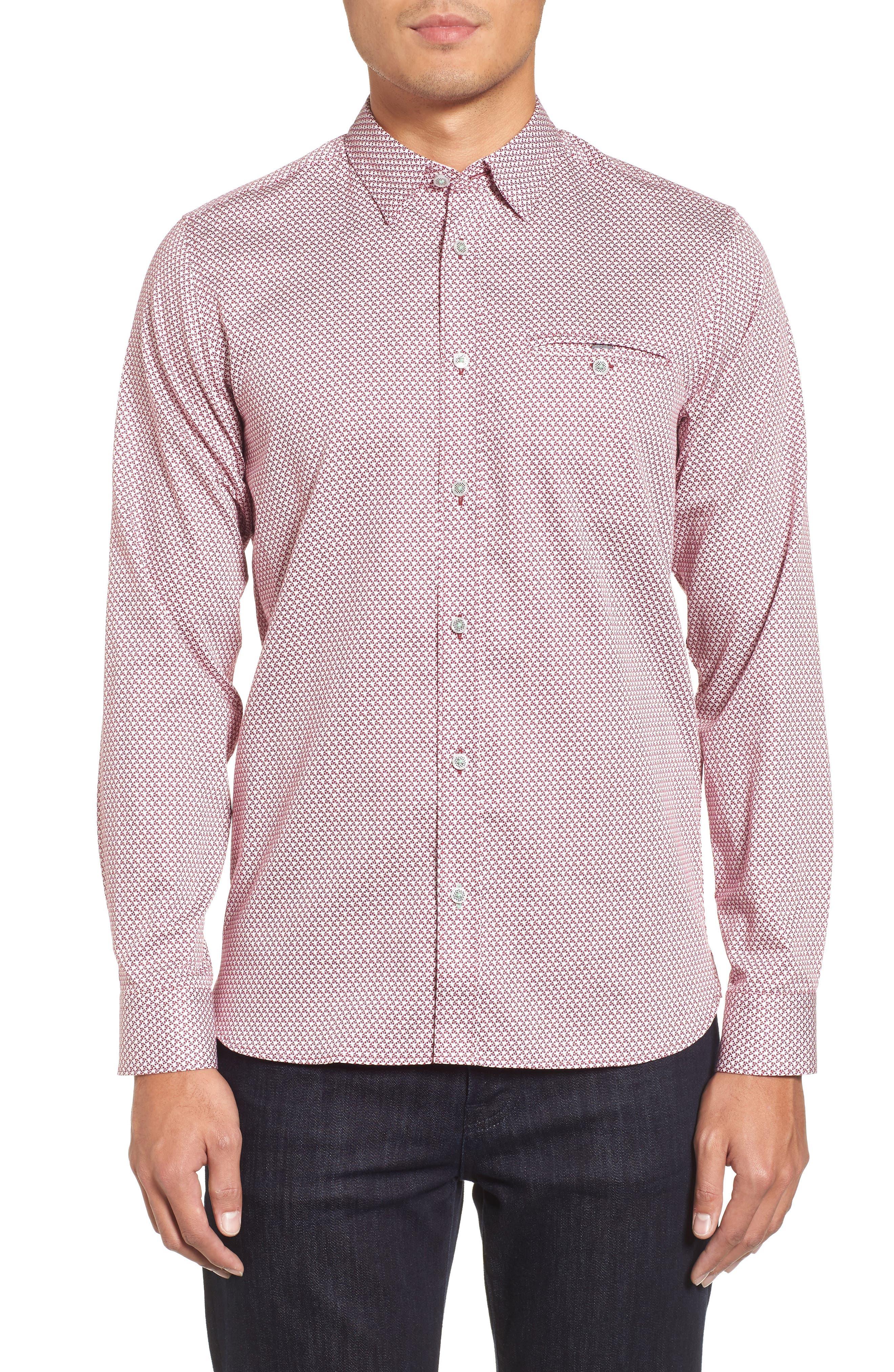 Vilamor Extra Slim Fit Print Sport Shirt,                         Main,                         color, Purple