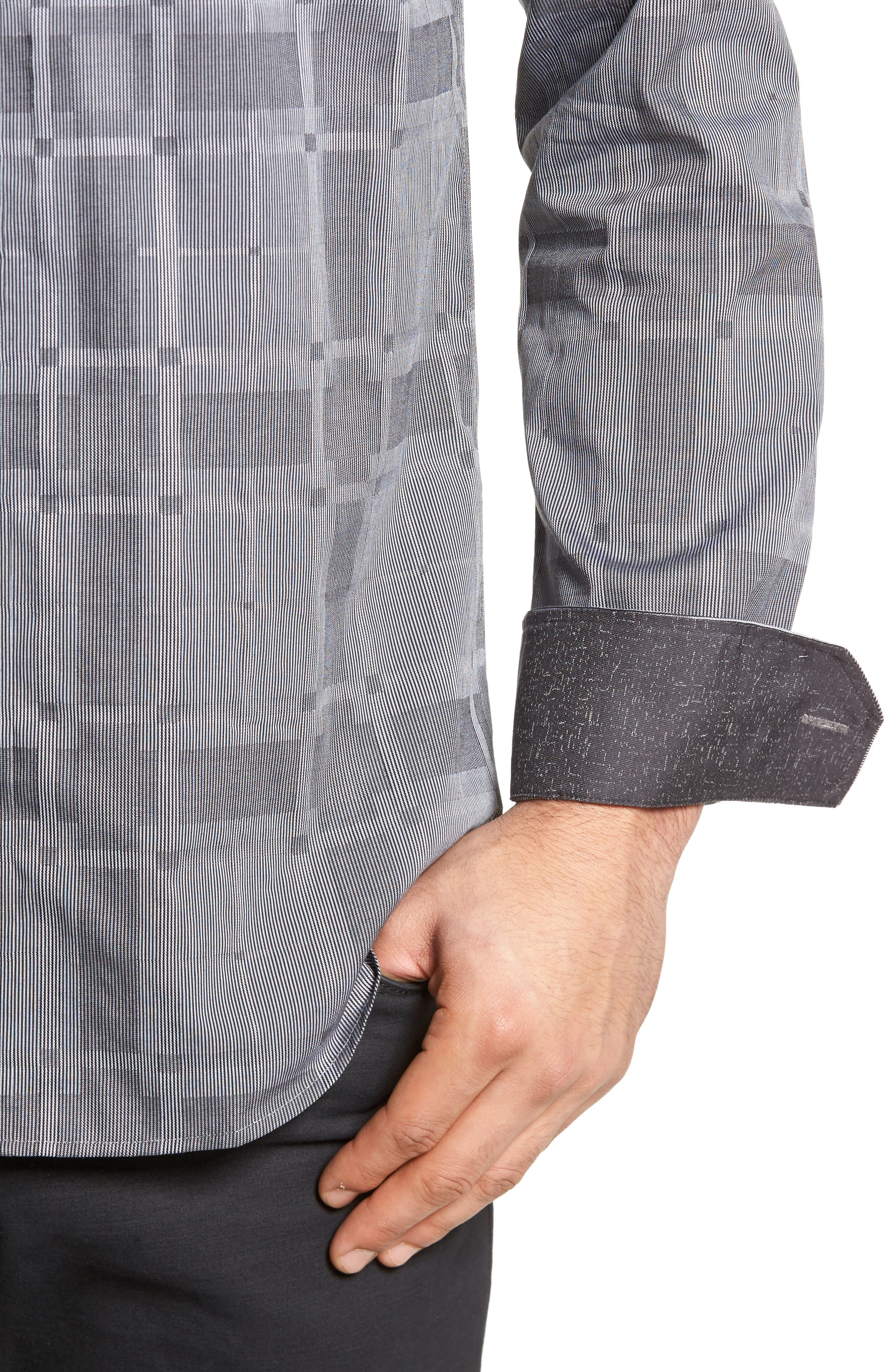 Slim Fit Microstripe Plaid Sport Shirt,                             Alternate thumbnail 4, color,                             Graphite