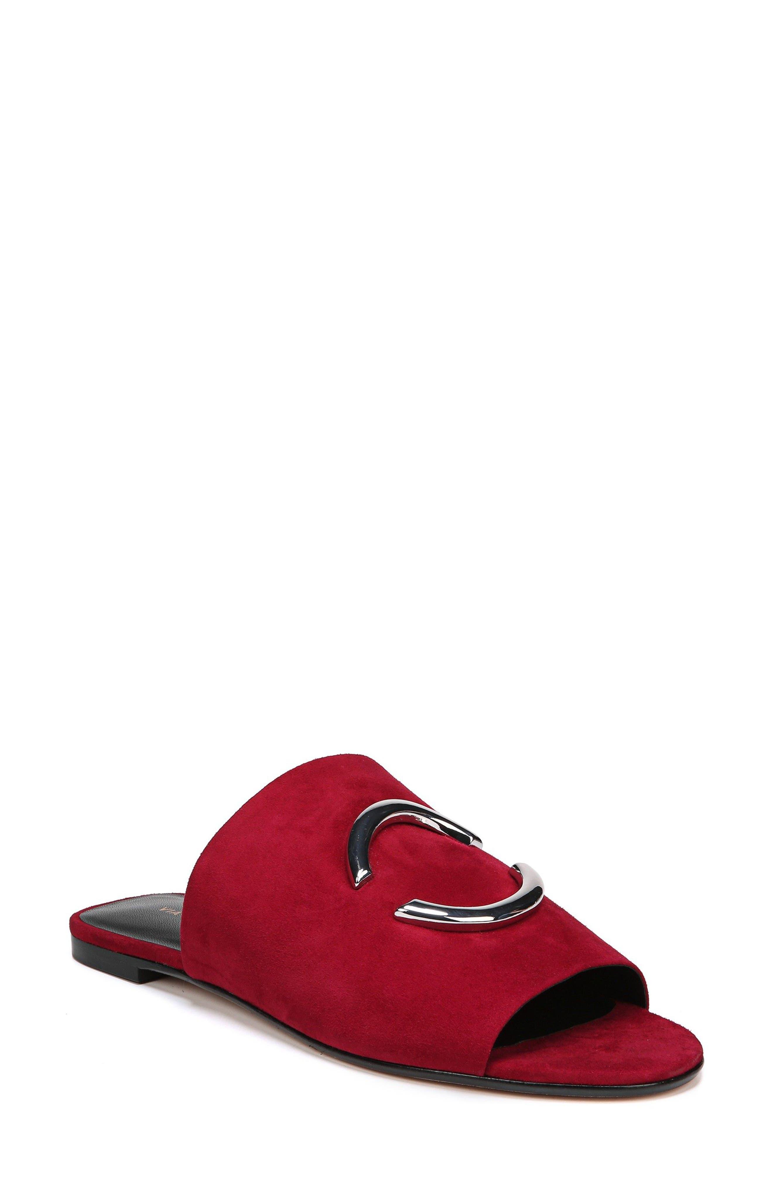 Helena Slide Sandal,                         Main,                         color, Ruby Suede