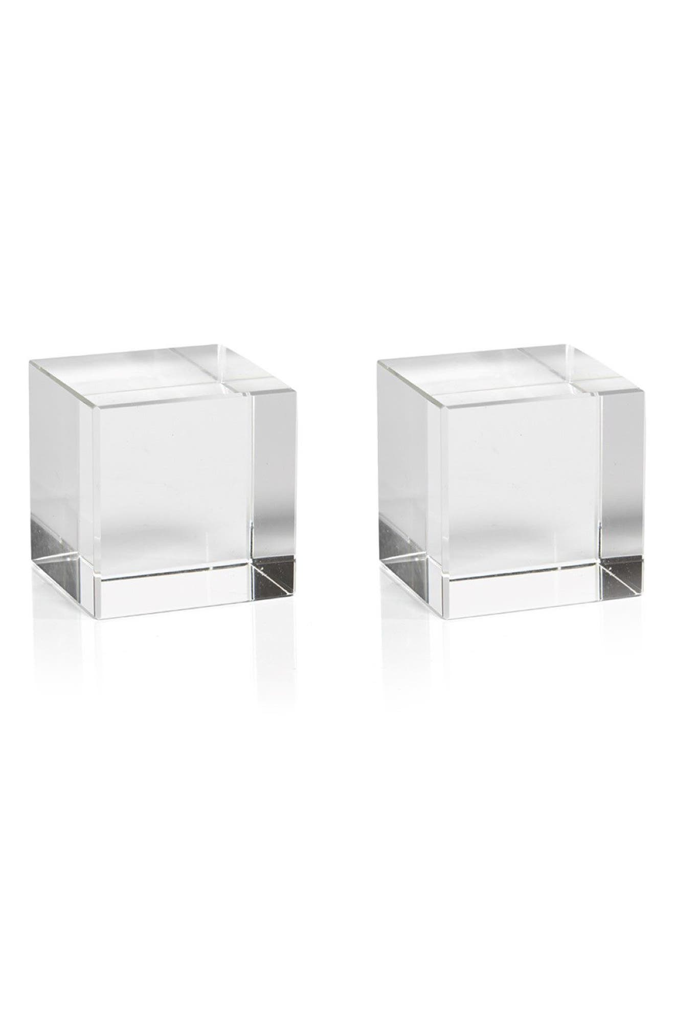 Jacy Set of 2 Glass Cubes,                             Main thumbnail 1, color,                             Clear