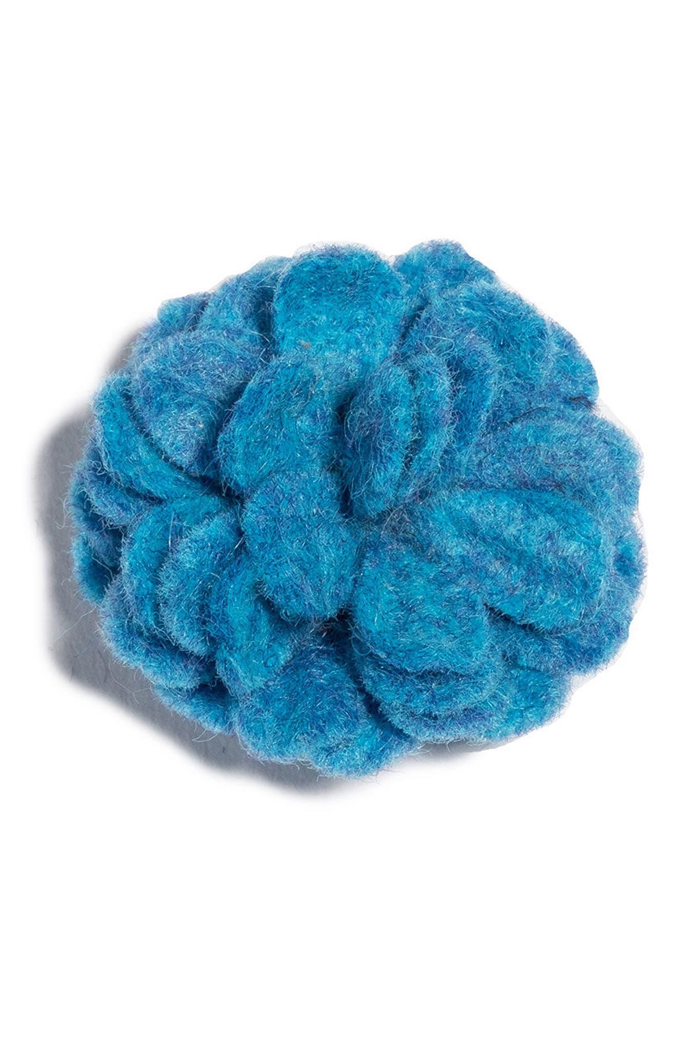 Satin Lapel Flower,                         Main,                         color, Light Blue