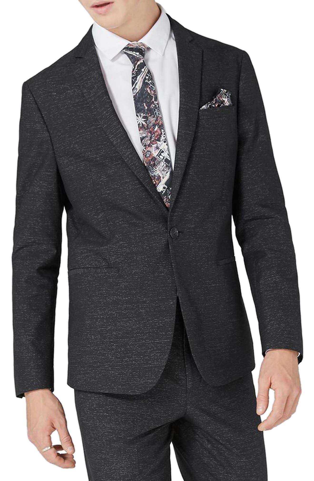 Skinny Fit Stripe Suit Jacket,                         Main,                         color, Black