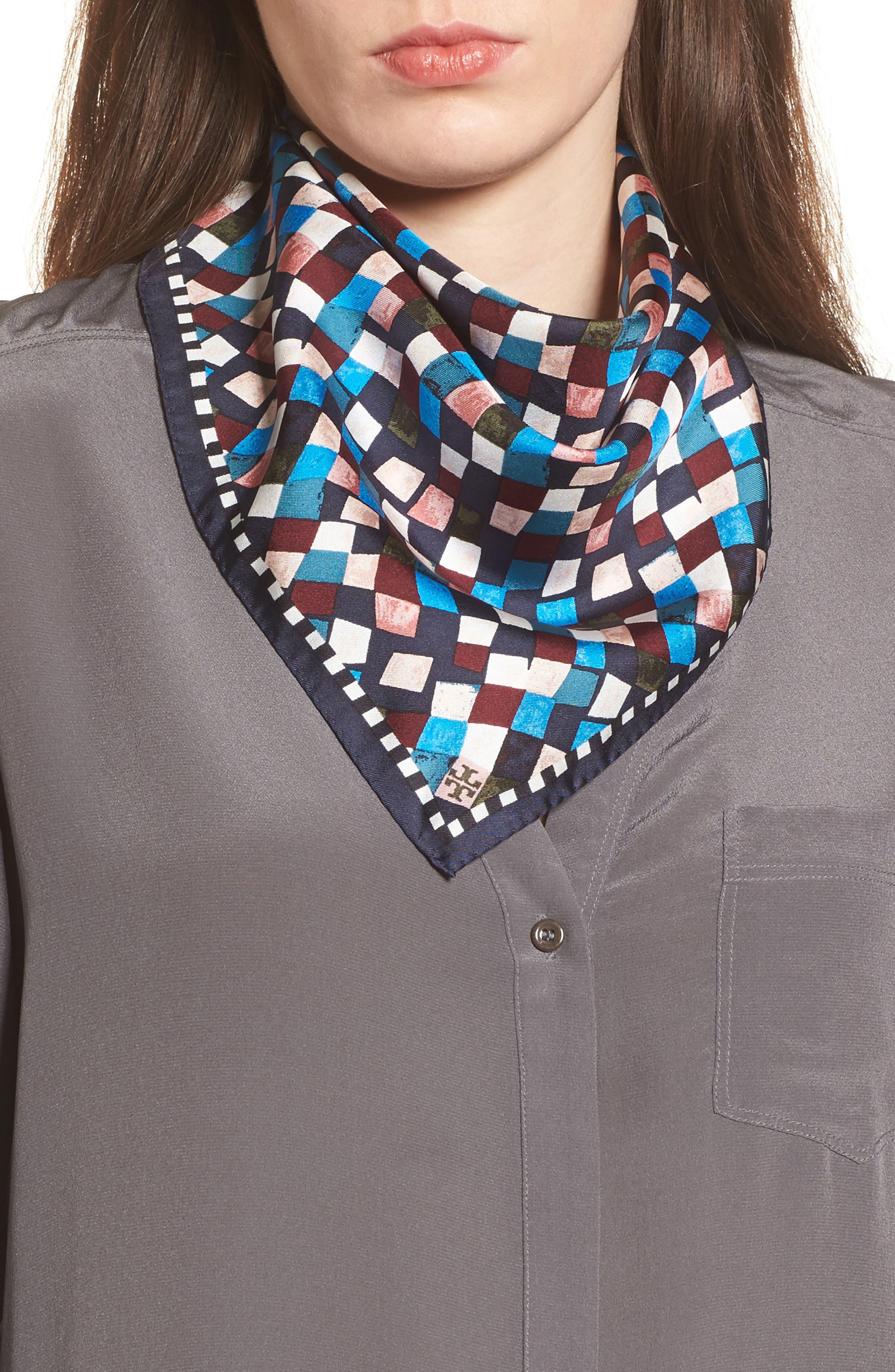 Prism Print Silk Neckerchief,                         Main,                         color, Navy Prism