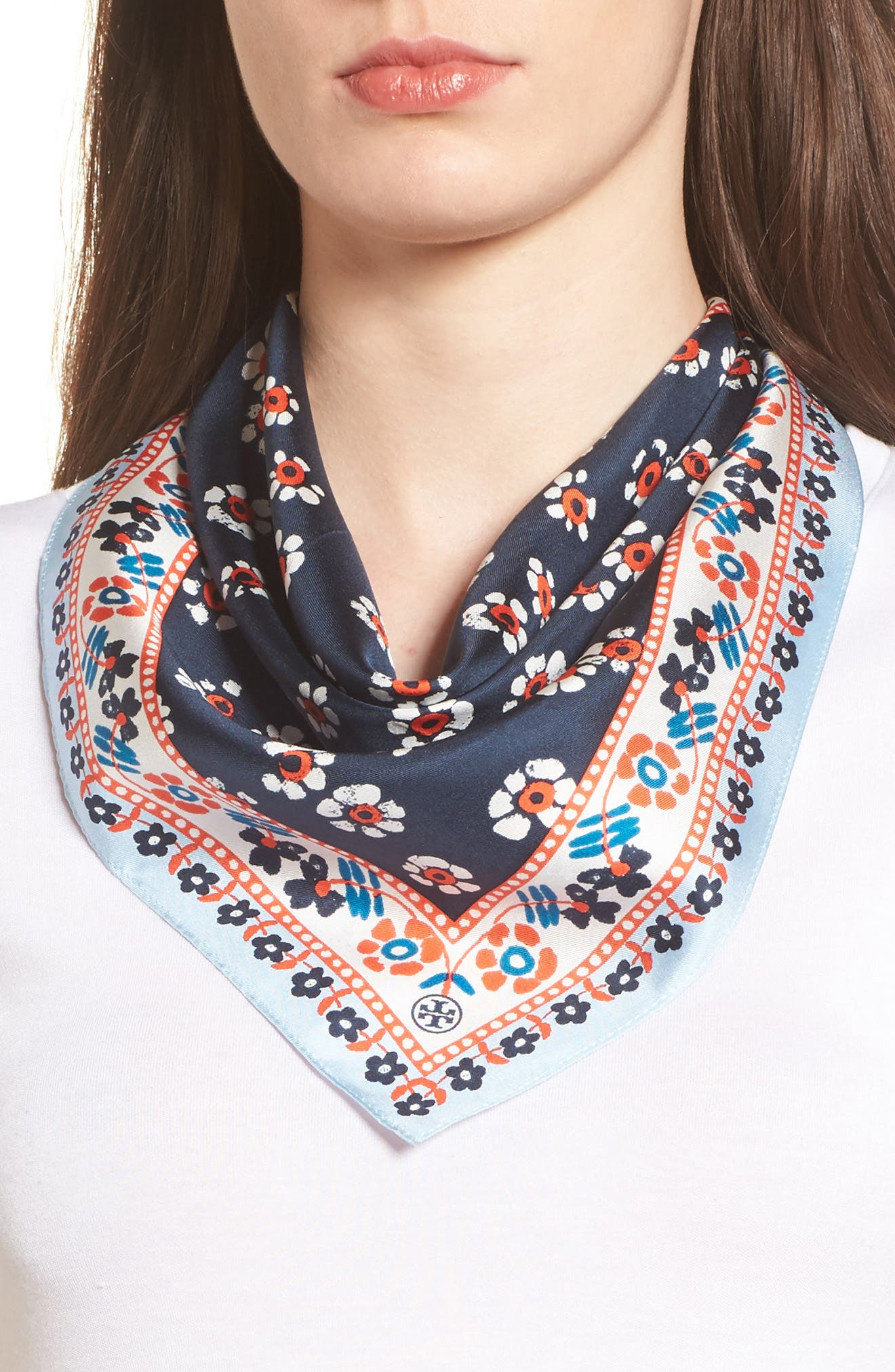 Alternate Image 1 Selected - Tory Burch Floral Stamped Silk Scarf