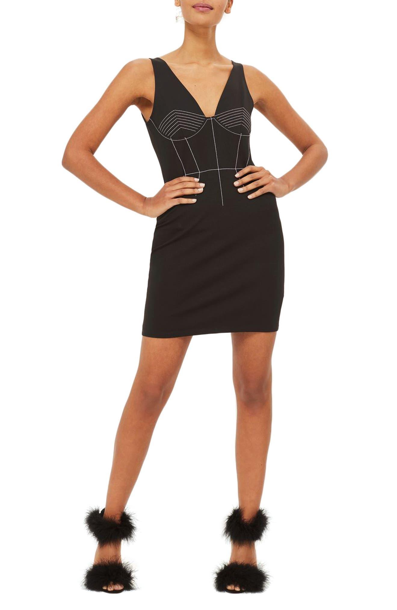 Contrast Stitch Body-Con Dress,                         Main,                         color, Black