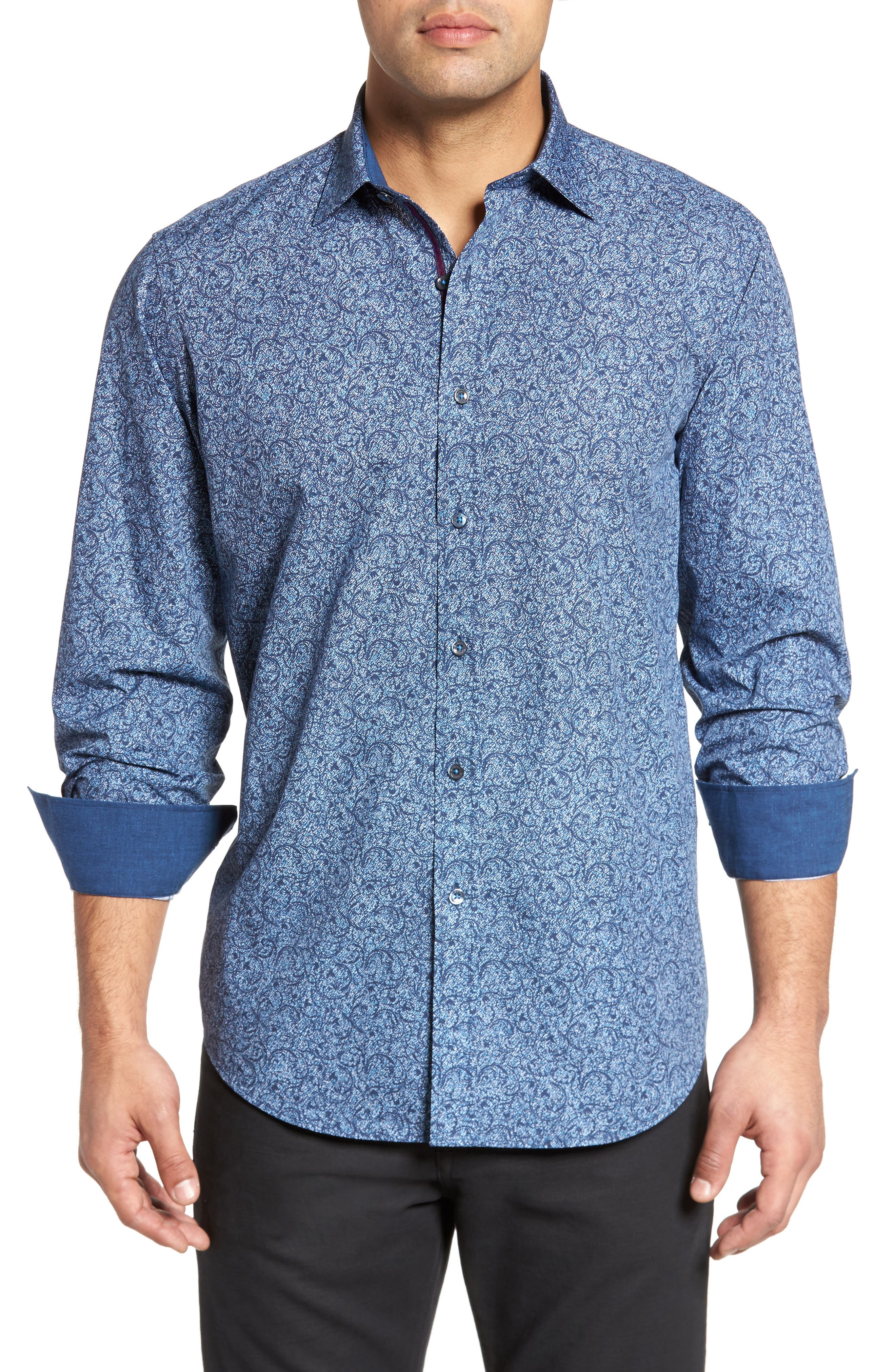 Classic Fit Scroll Print Sport Shirt,                         Main,                         color, Navy