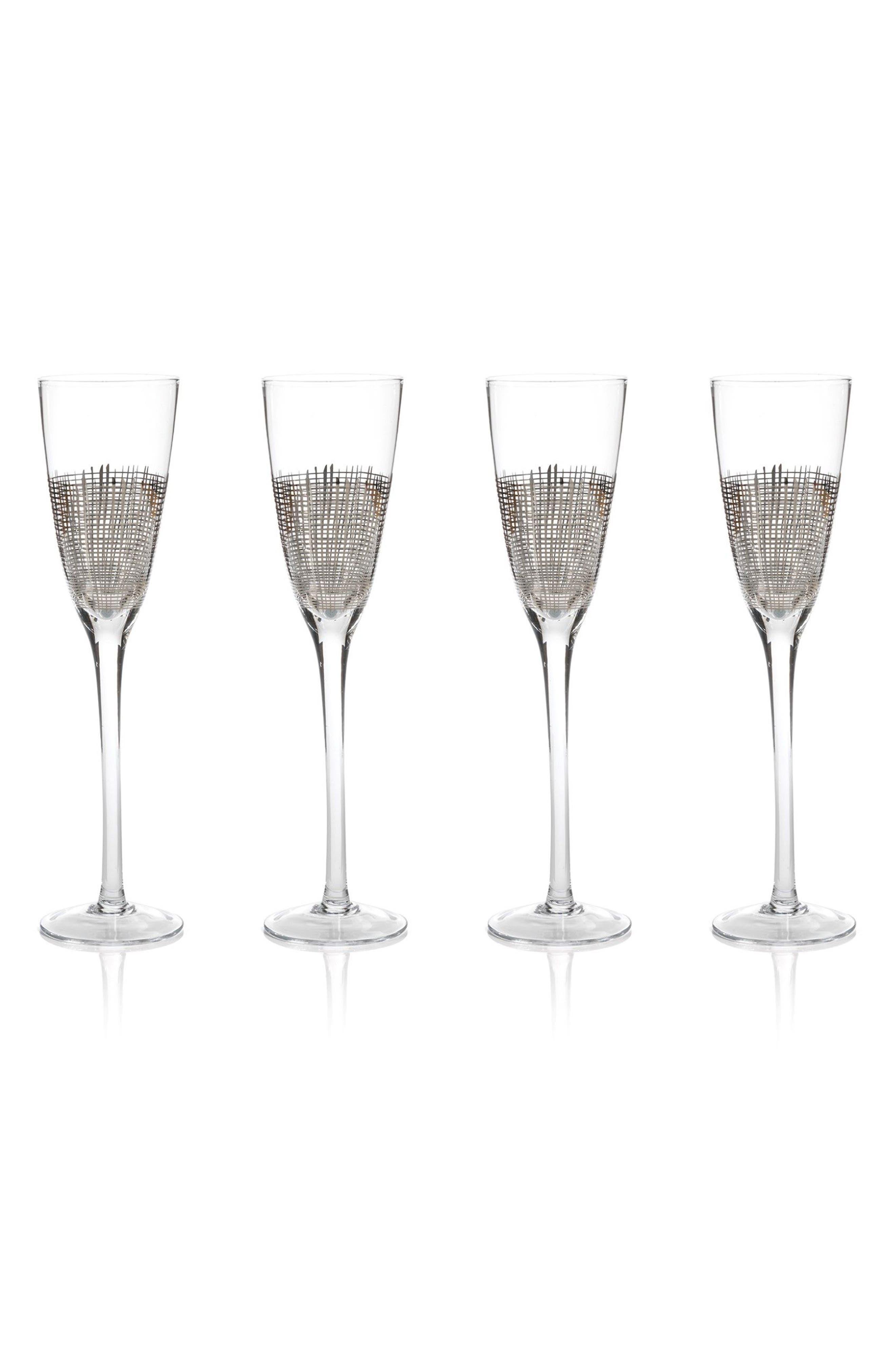 Reza Set of 4 Champagne Flutes,                         Main,                         color, Platinum