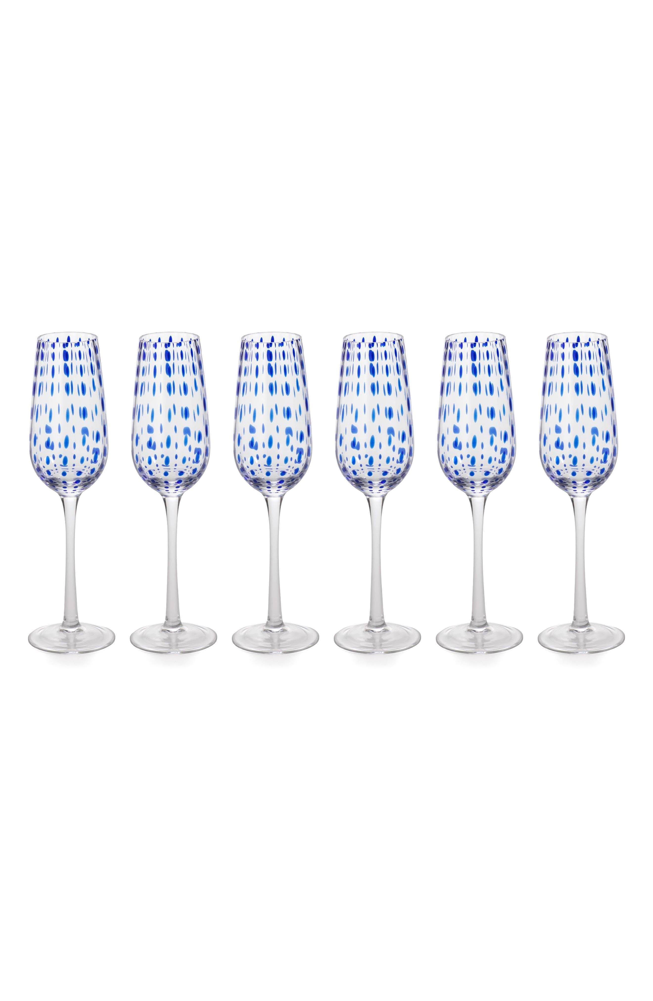 Mavi Set of 6 Champagne Flutes,                             Main thumbnail 1, color,                             Blue