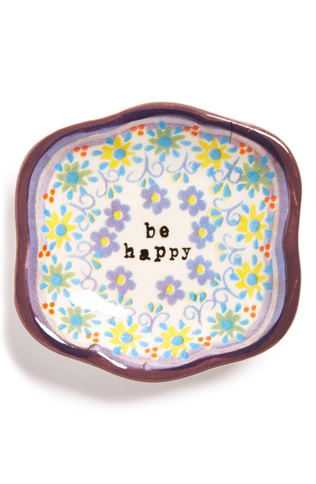 Alternate Image 1 Selected - Natural Life 'Be Happy' Ceramic Trinket Dish