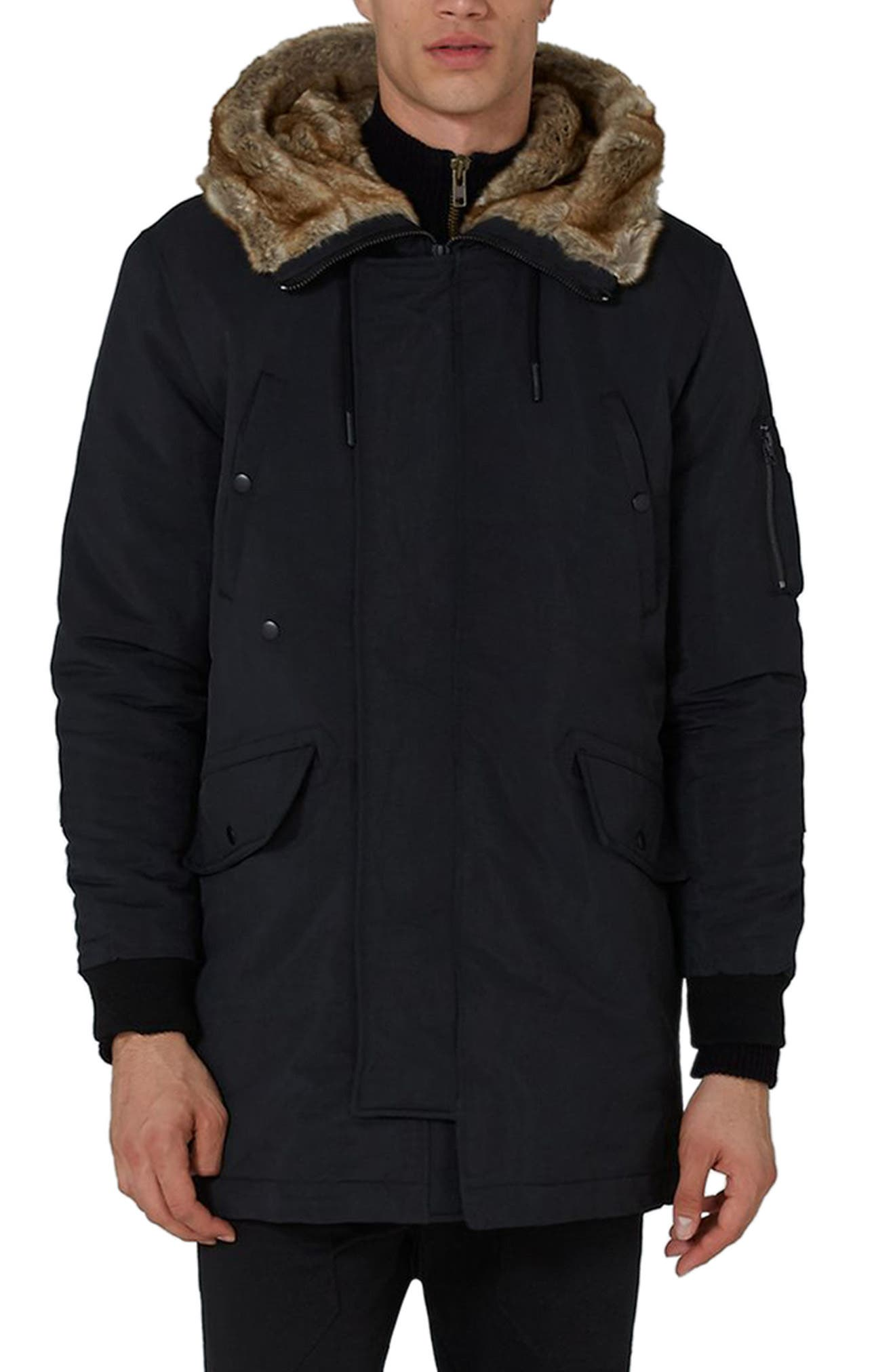 Alternate Image 1 Selected - Topman Faux Fur Lined Parka
