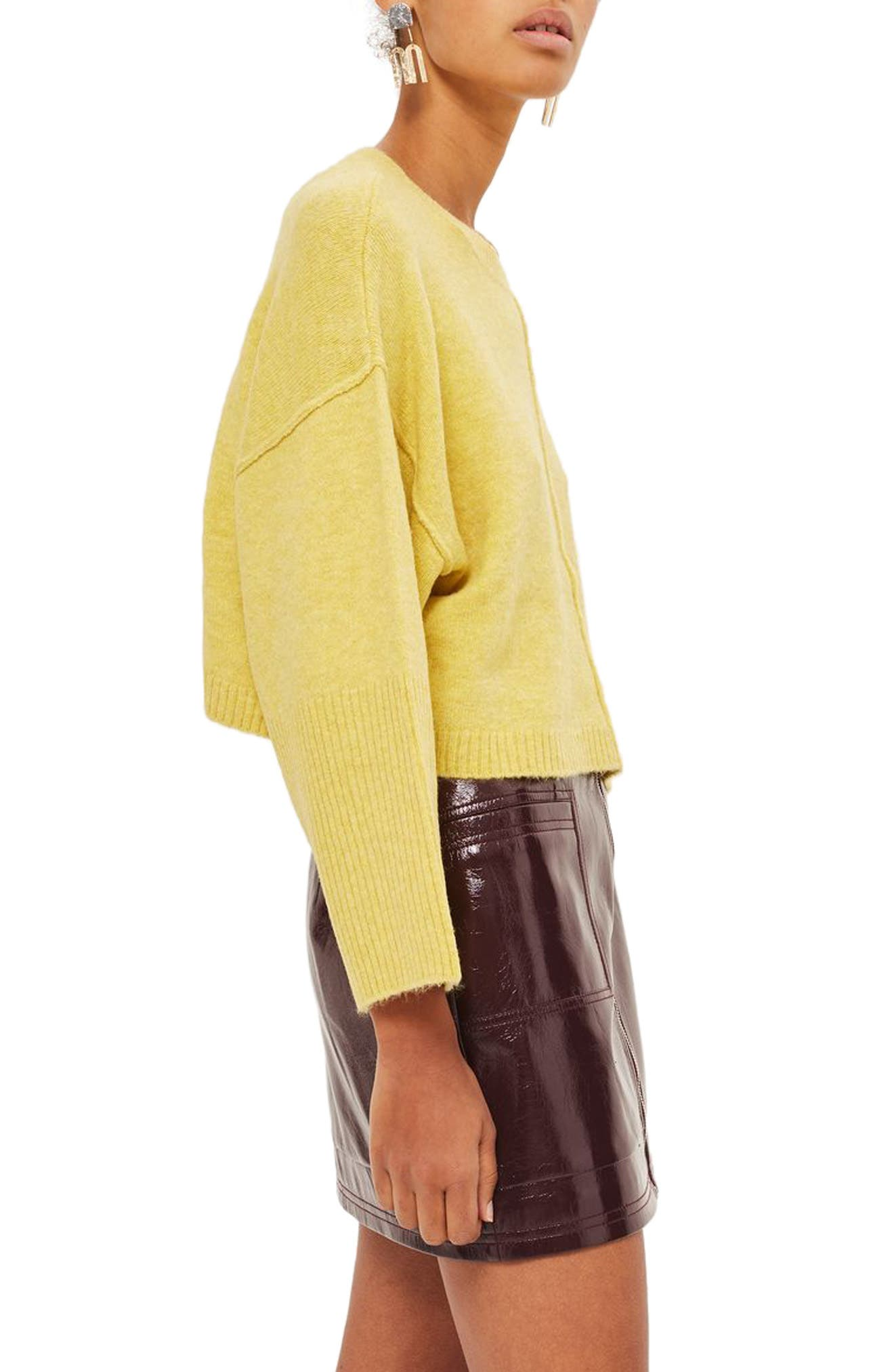 Wide Sleeve Crop Sweater,                             Alternate thumbnail 4, color,                             Yellow
