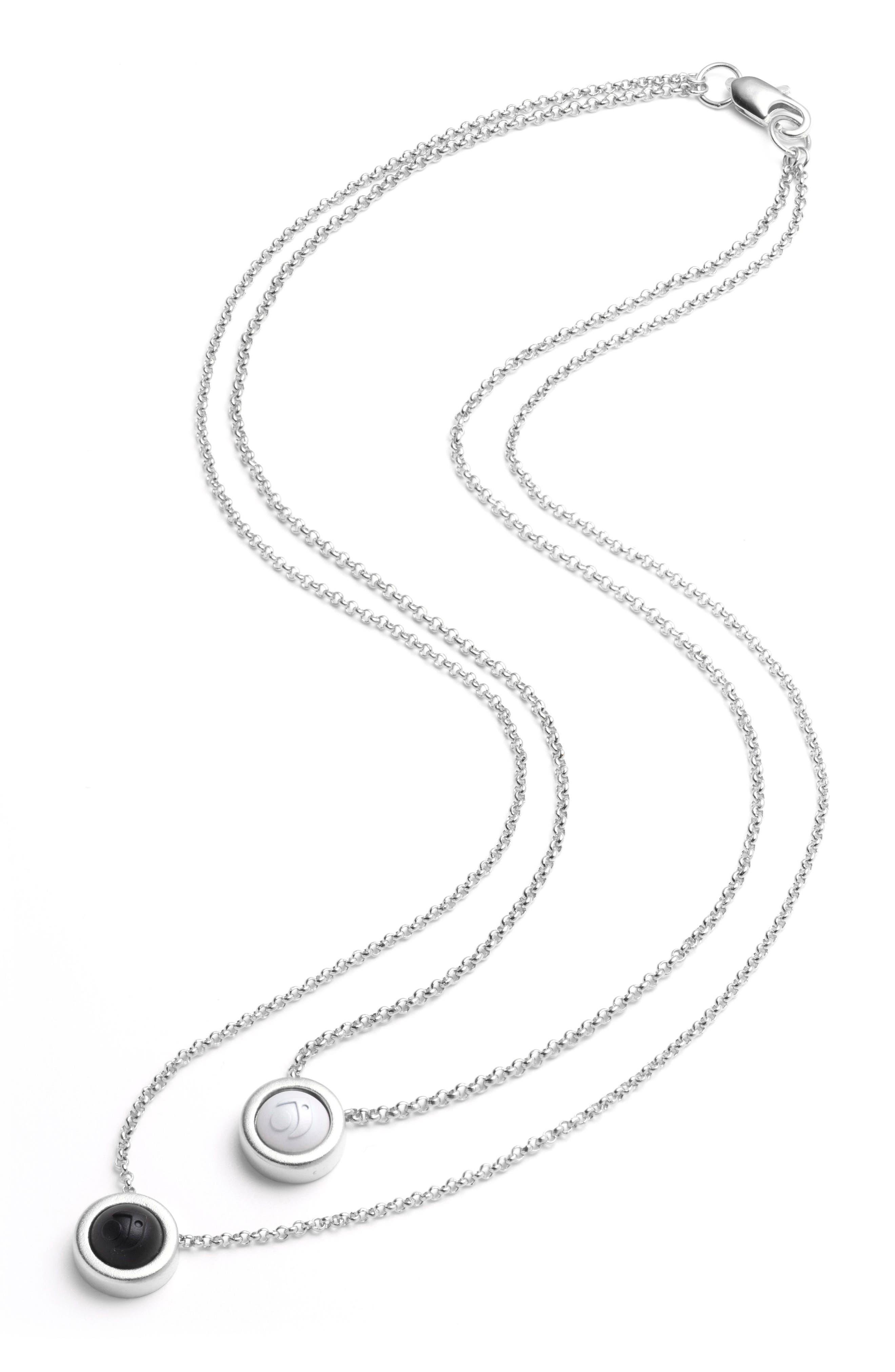 Double Fine Chain Pendant Necklace,                             Alternate thumbnail 3, color,                             Silver
