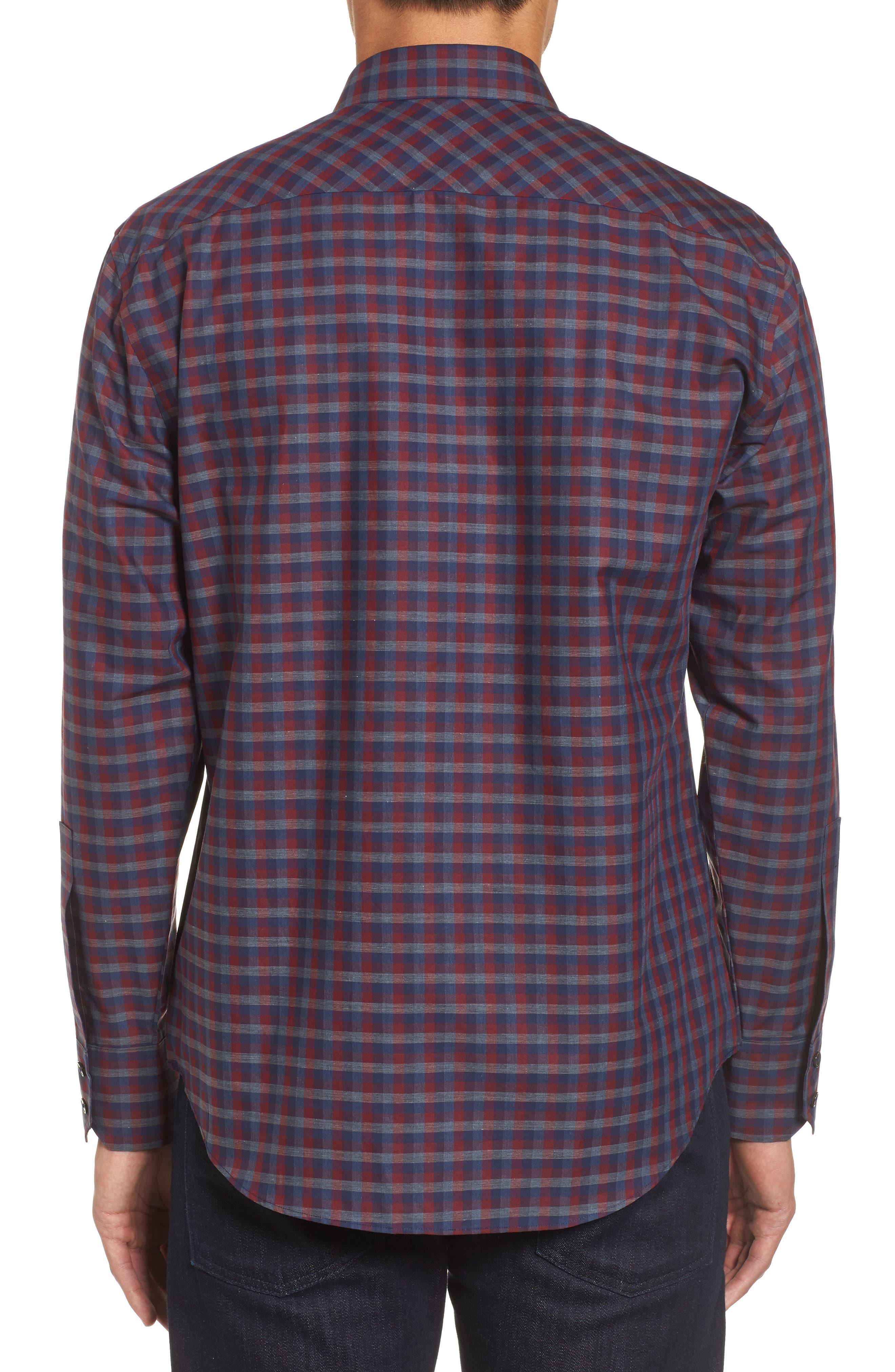 Dane Check Sport Shirt,                             Alternate thumbnail 2, color,                             Red