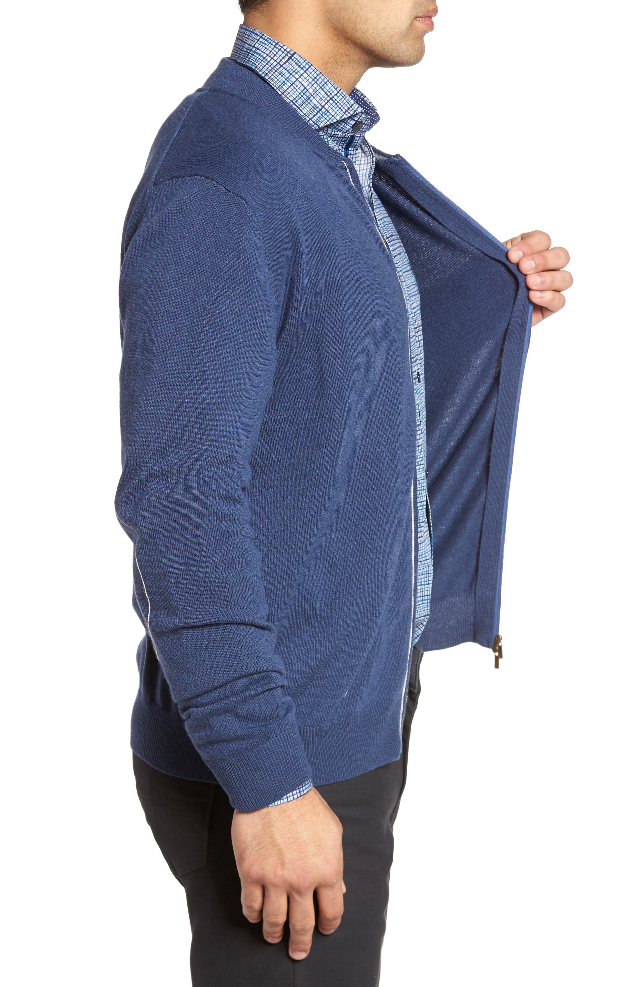 Zip Sweater,                             Alternate thumbnail 3, color,                             Classic Blue