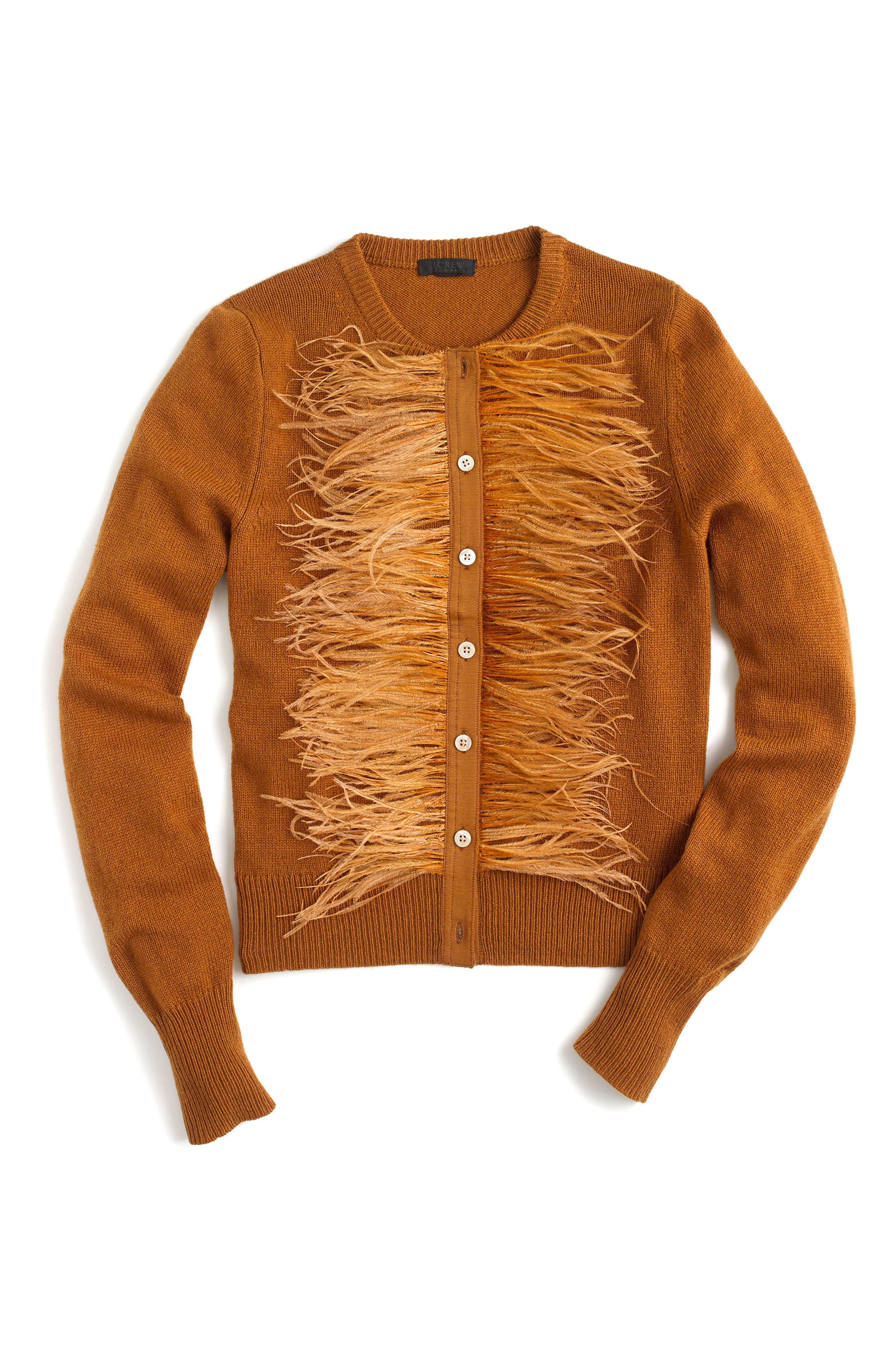 J.Crew Faux Feather Wool Blend Cardigan,                         Main,                         color, Burnished Pecan