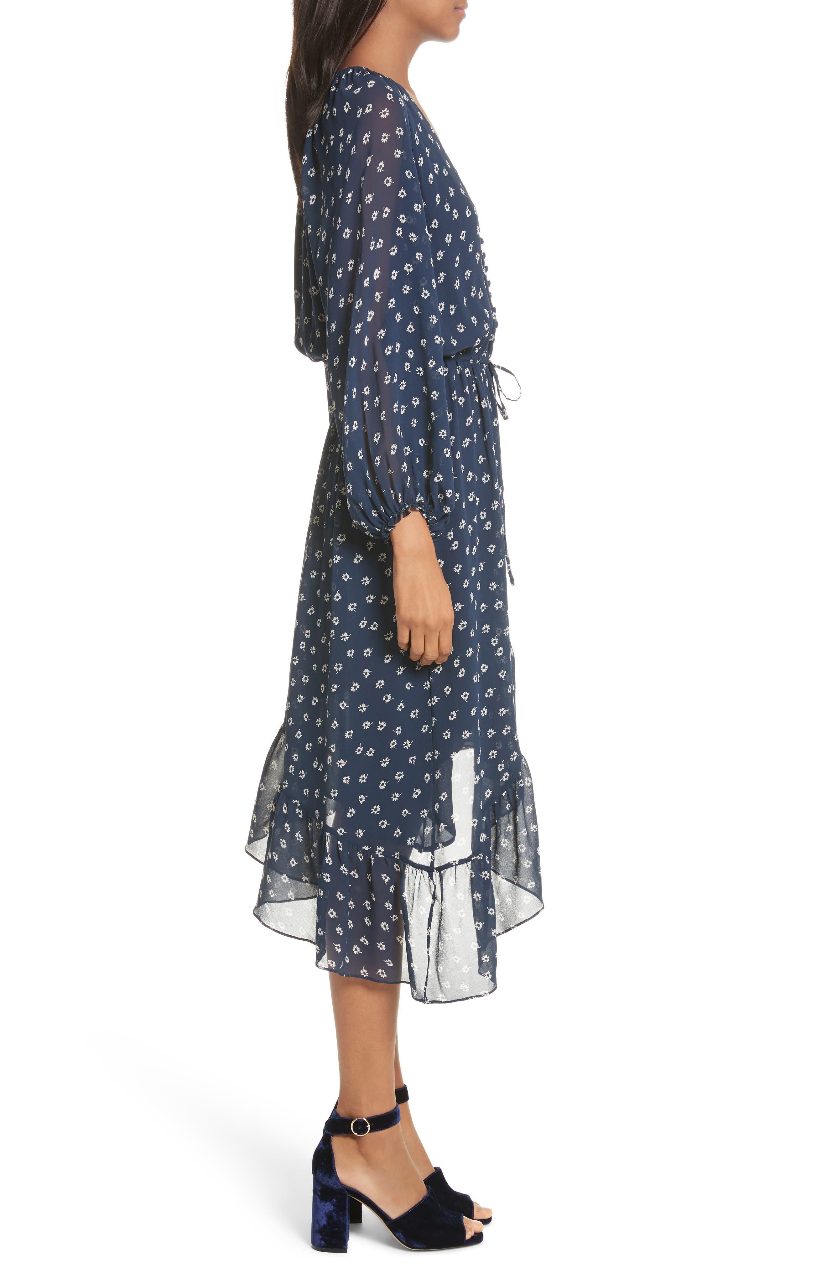 Alithea Print Silk Asymmetrical Dress,                             Alternate thumbnail 3, color,                             Dark Navy