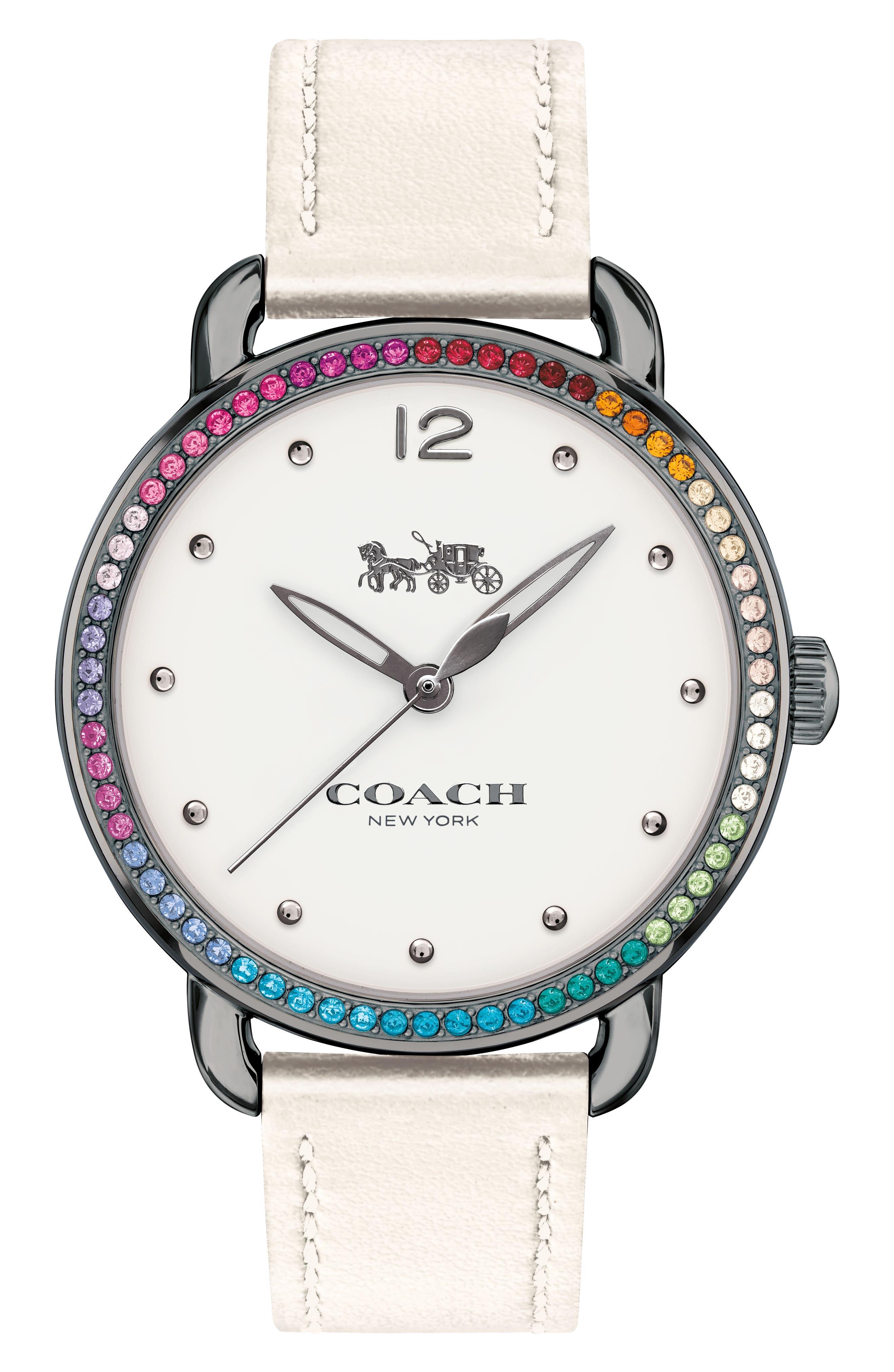 COACH Delancey Pavé Bezel Leather Strap Watch, 36mm