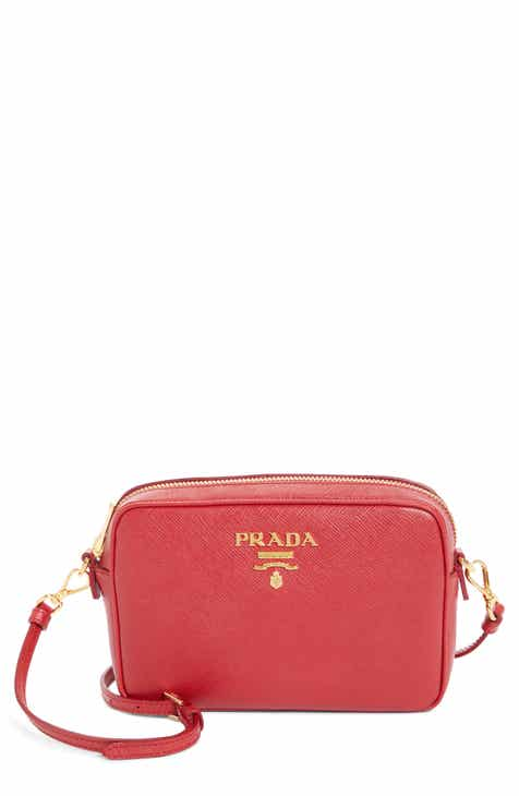 d649e04ff00a Prada Vitello Daino Leather Crossbody Messenger Bag.  1