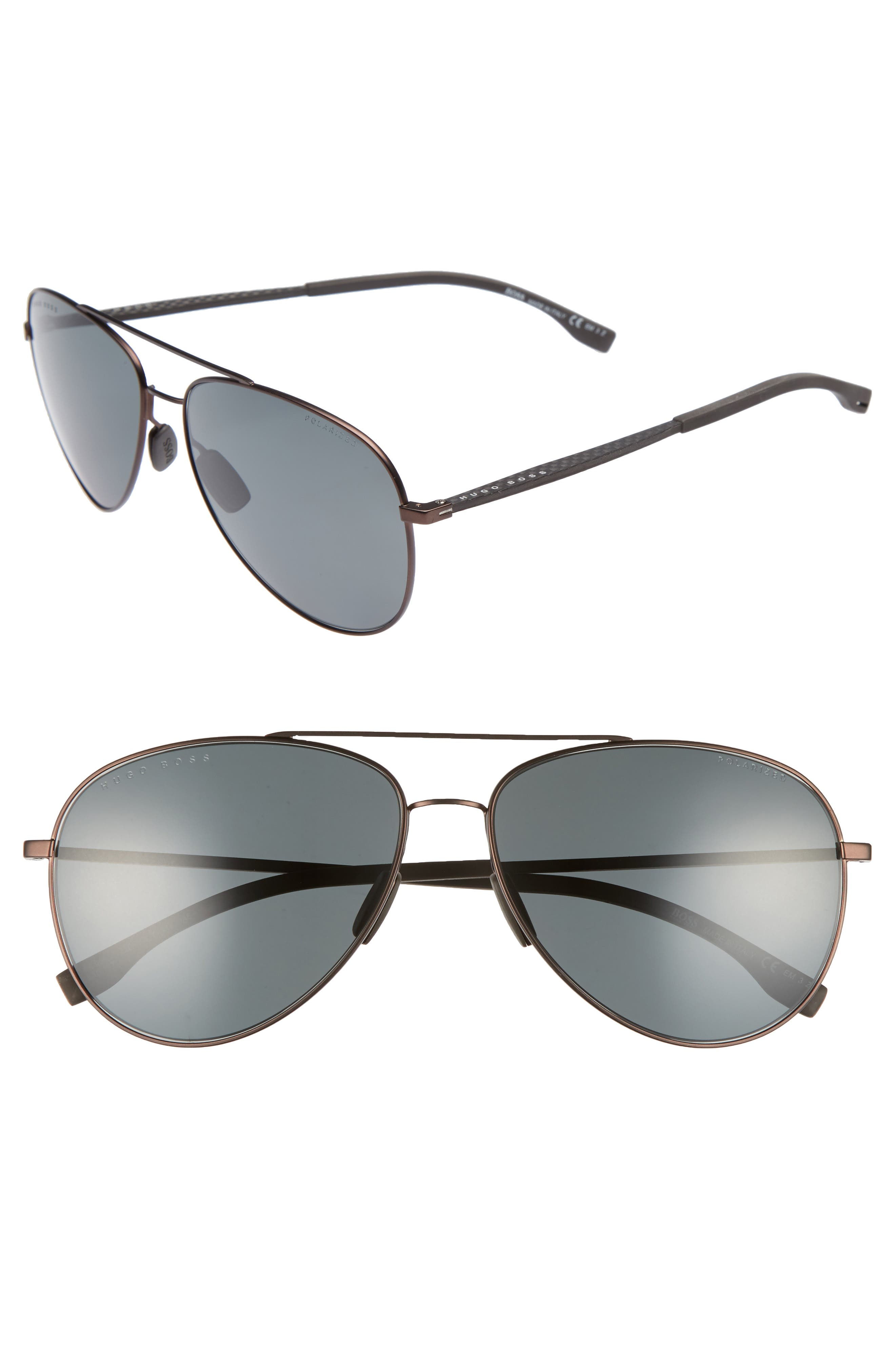 59mm Aviator Sunglasses,                         Main,                         color, Brown Rubber/ Brown