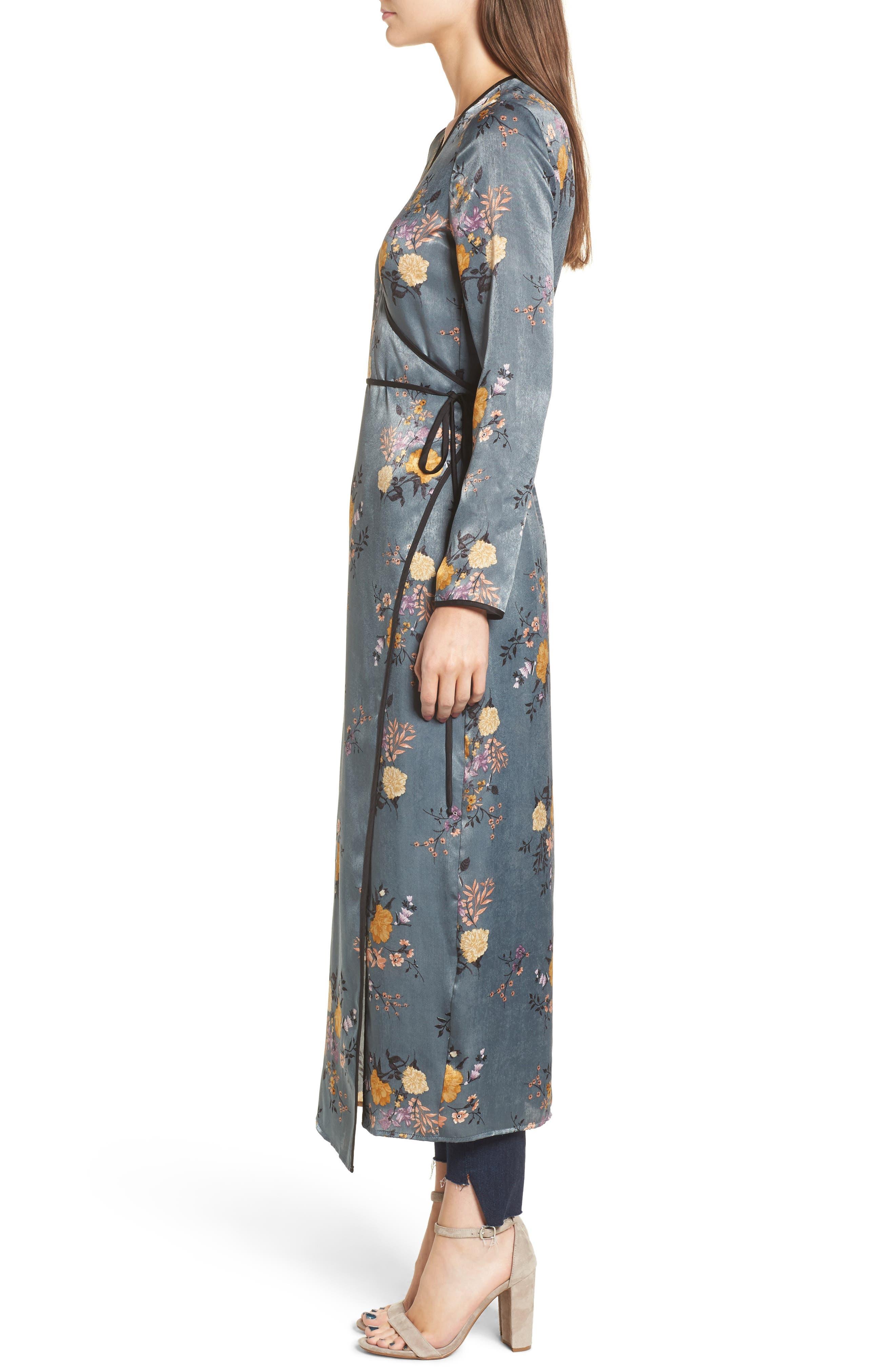 Satin Wrap Kimono,                             Alternate thumbnail 3, color,                             Storm Blue Print