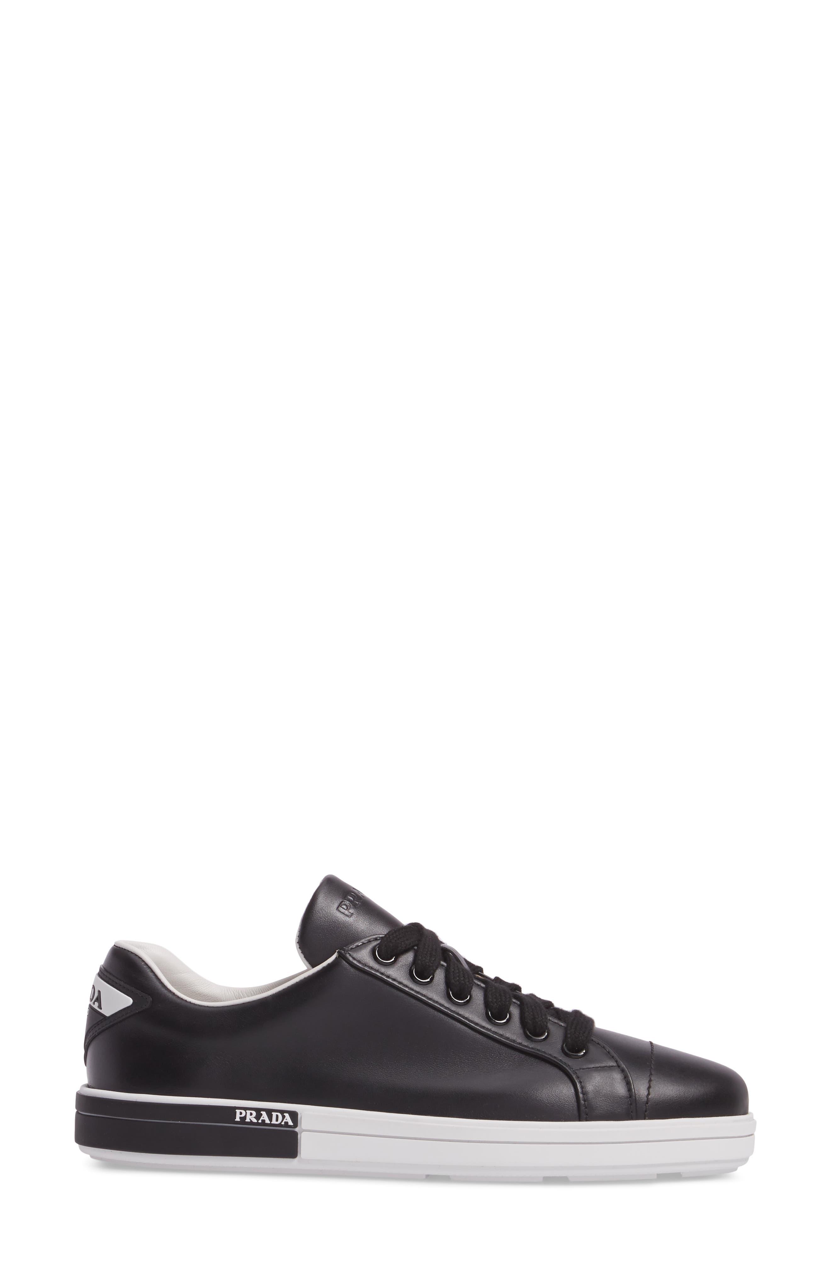 Logo Low Top Sneaker,                             Alternate thumbnail 3, color,                             Black/ White