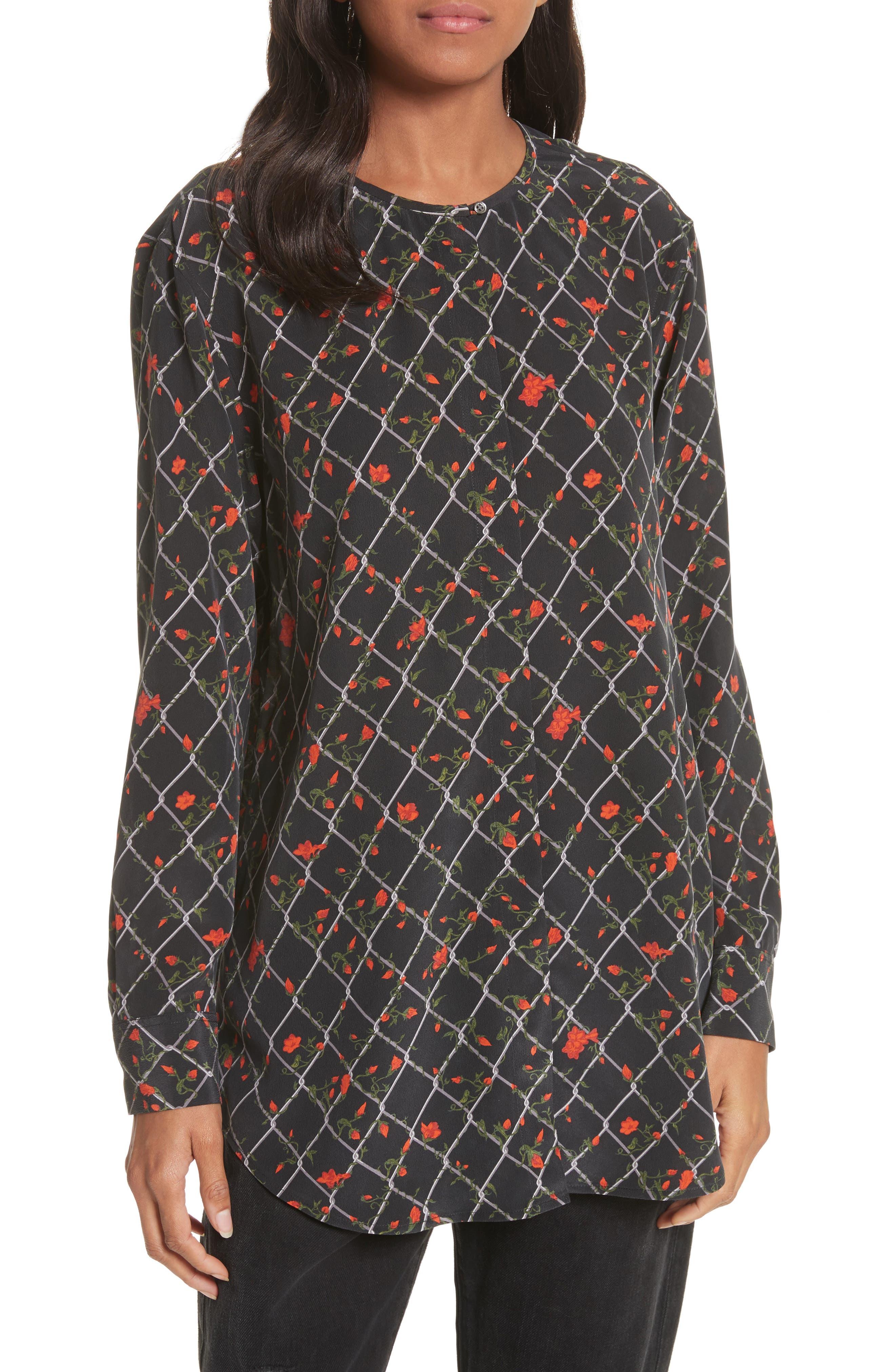 Simon Print Silk Blouse,                         Main,                         color, True Black Multi