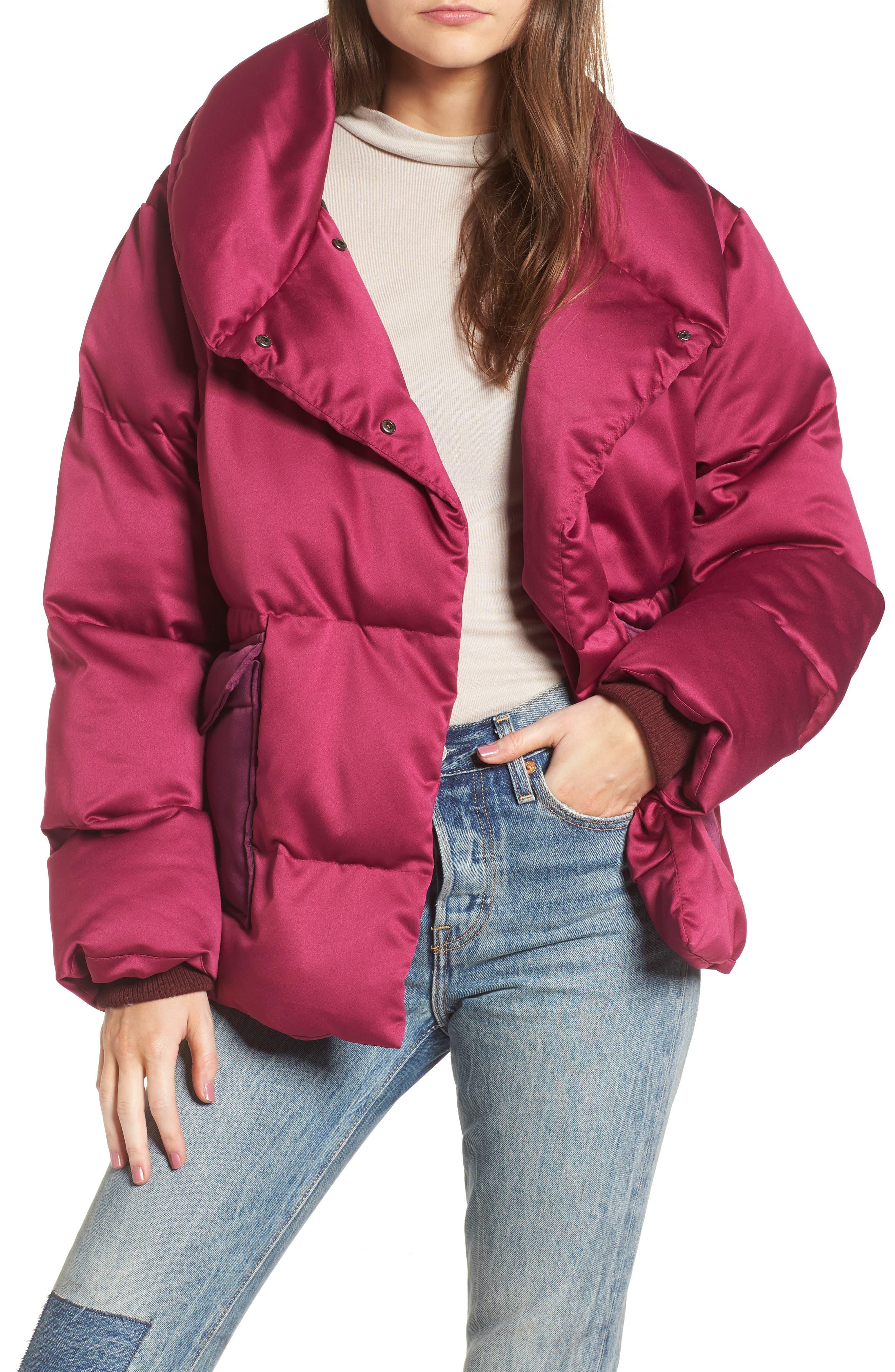 Satin Puffer Jacket,                         Main,                         color, Bright Pink