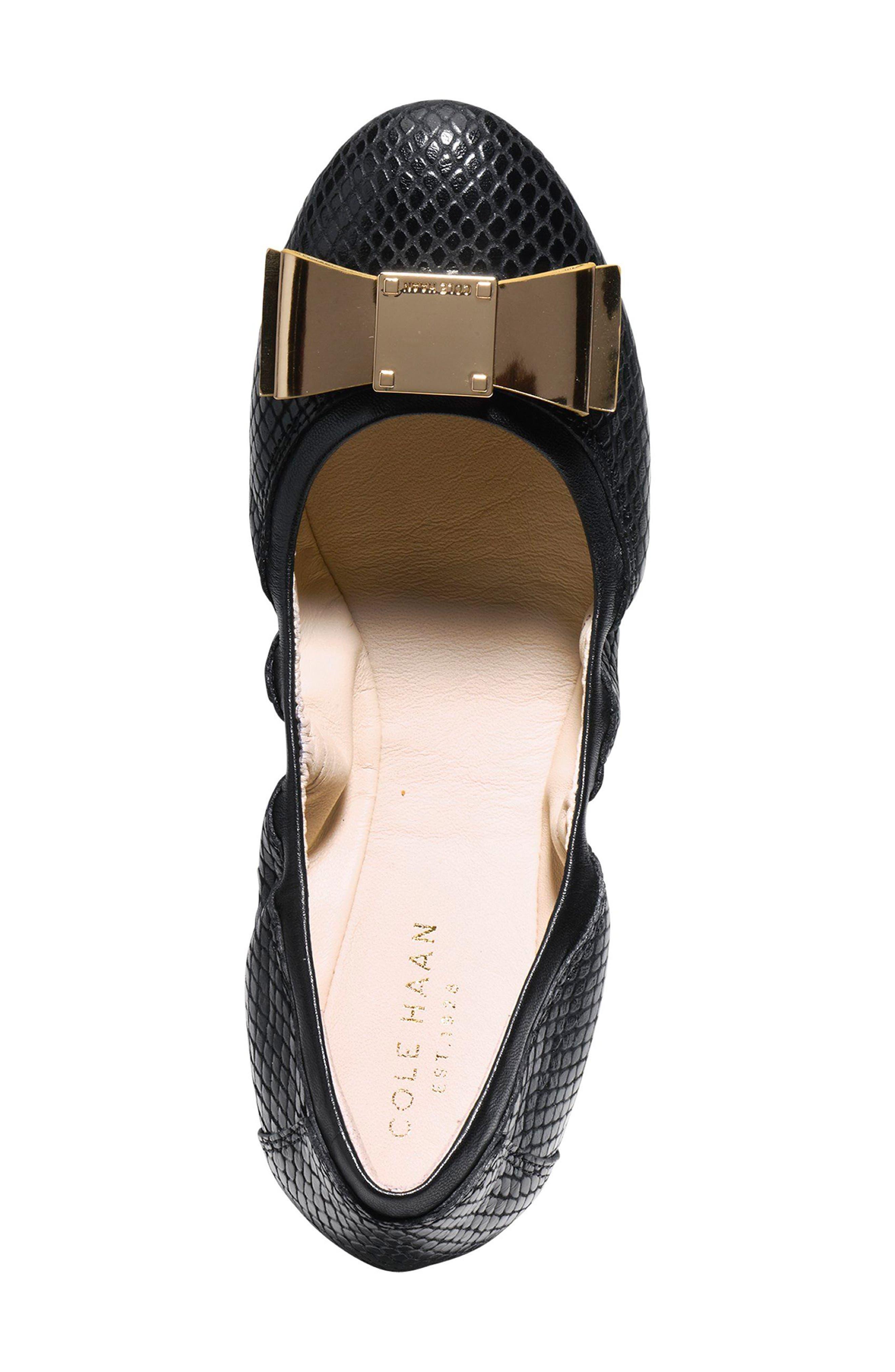 'Tali' Bow Ballet Flat,                             Alternate thumbnail 4, color,                             Black Snake Print Leather