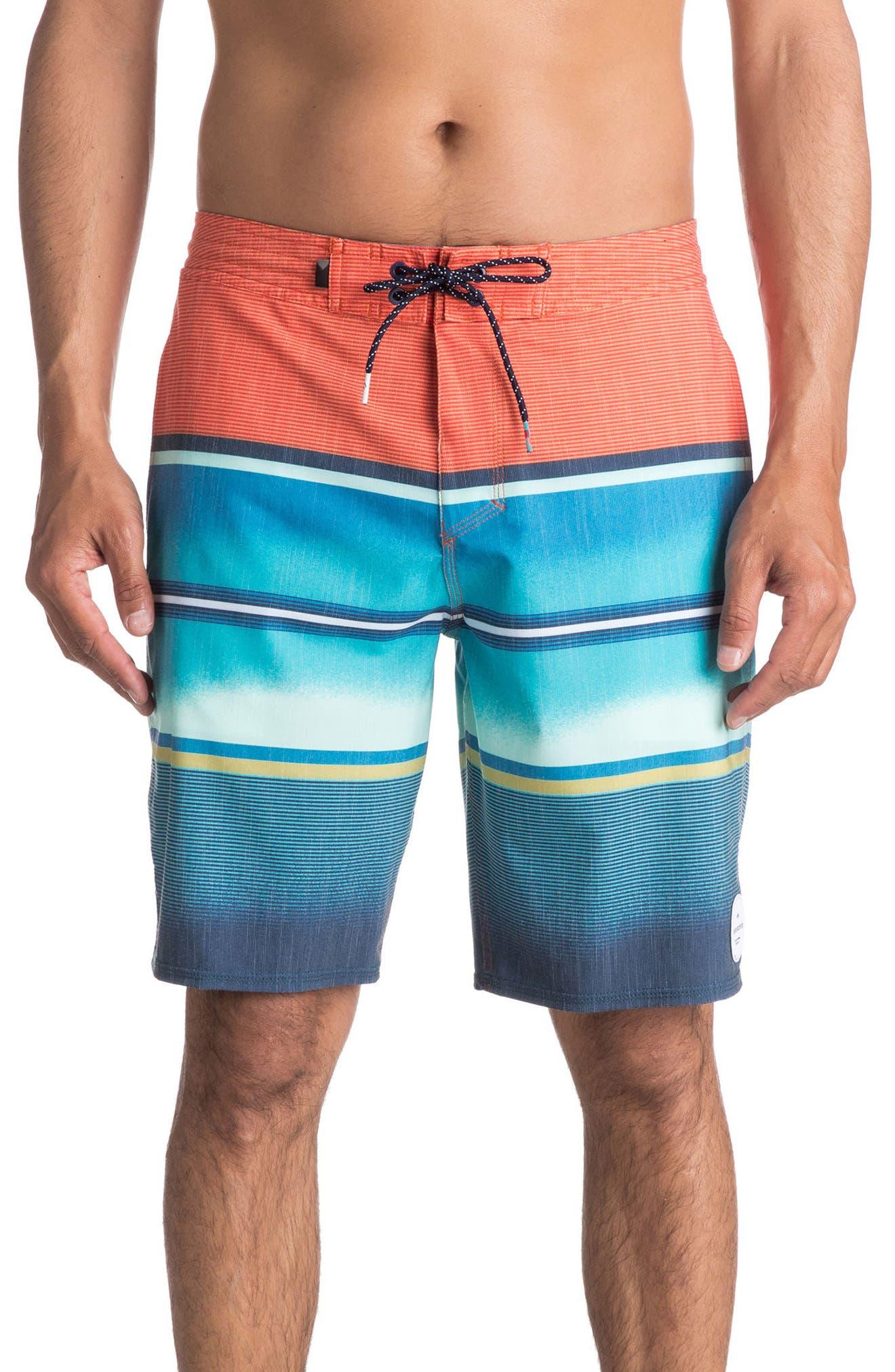Swell Vision Board Shorts,                             Main thumbnail 1, color,                             Coral Rose