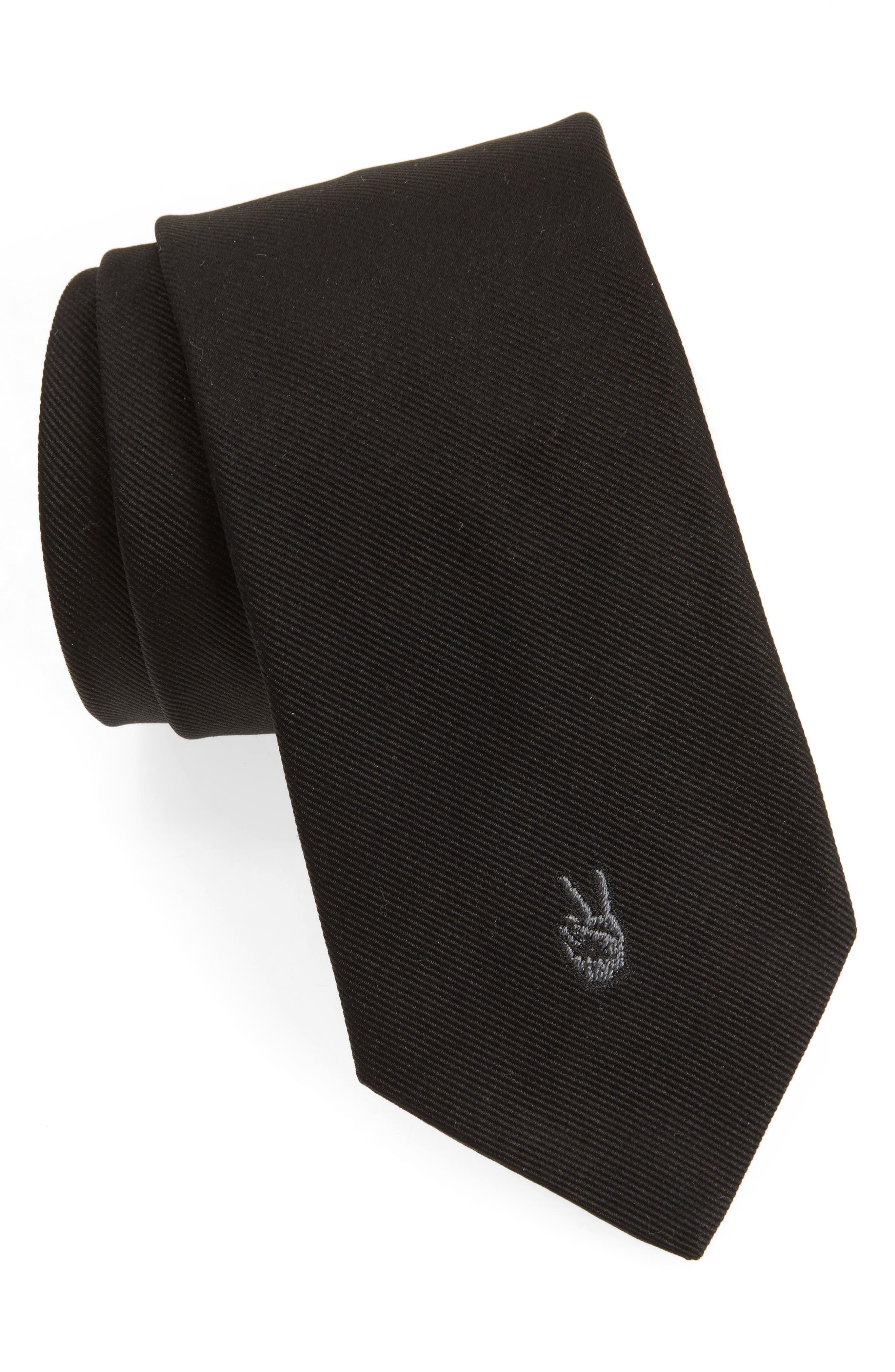 Peace Sign Silk Tie,                             Main thumbnail 1, color,                             Black
