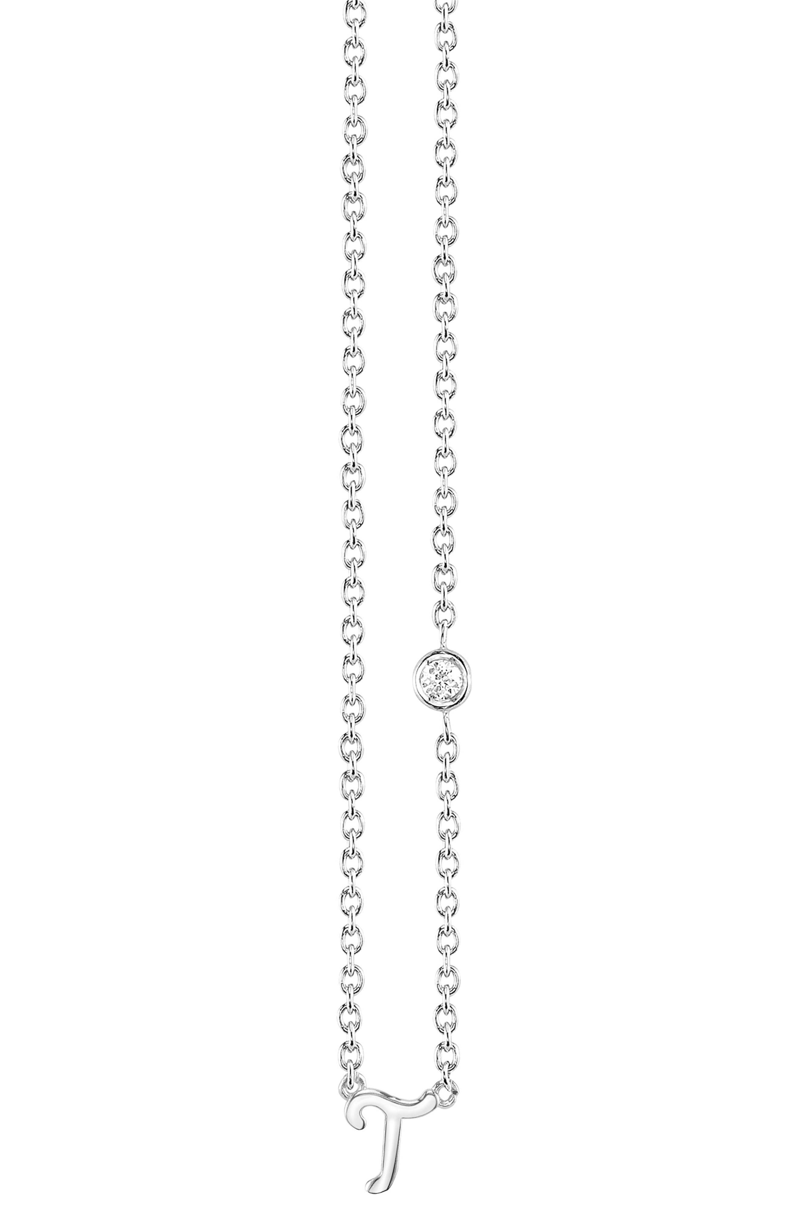 Main Image - Shy by SE Diamond Initial Pendant Necklace