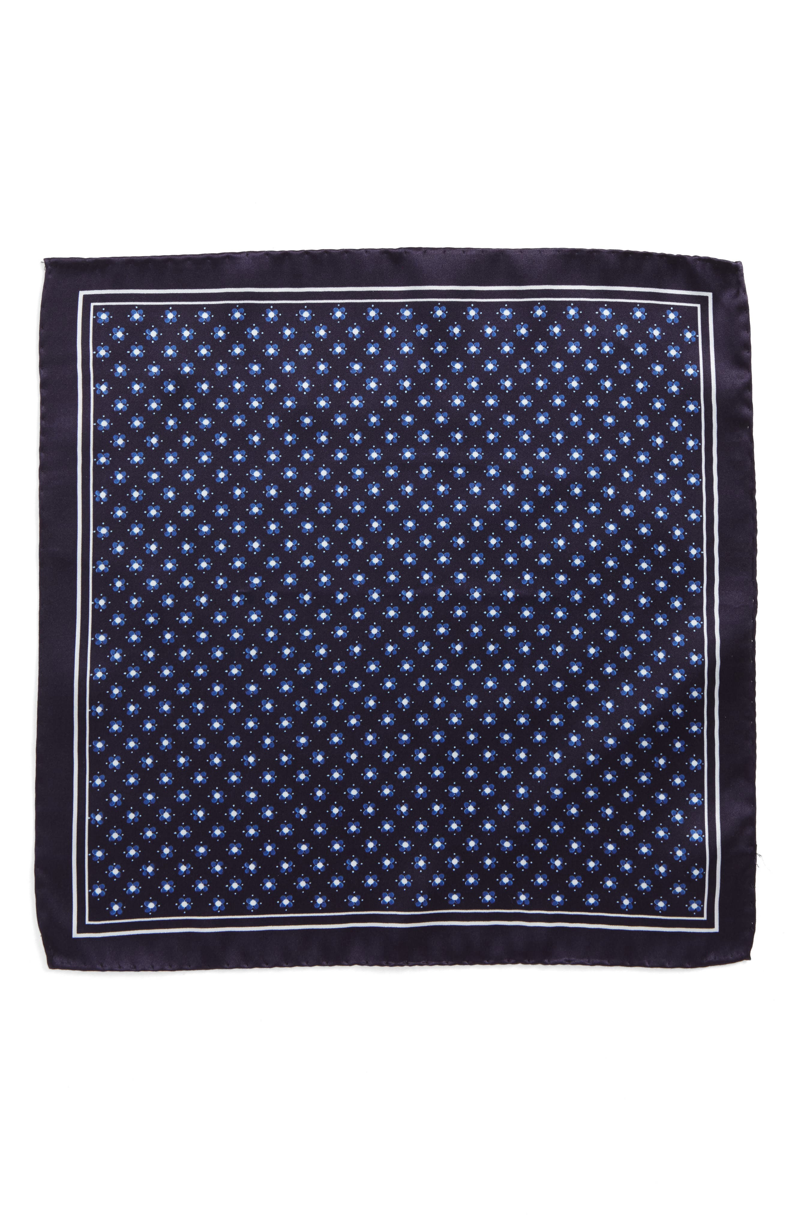 Medallion Silk Pocket Square,                             Alternate thumbnail 2, color,                             Blue