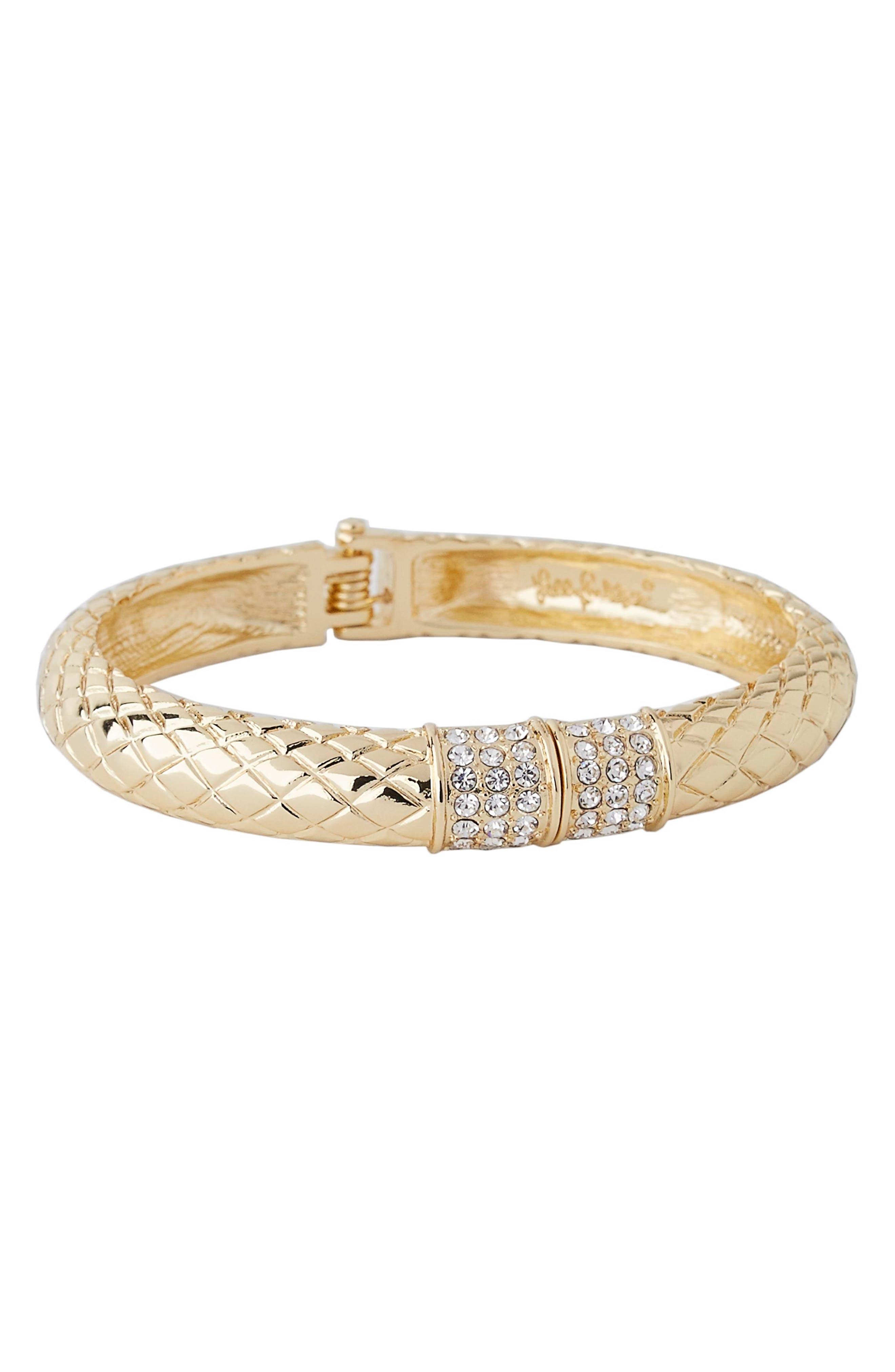Sea Fan Hinged Bangle Bracelet,                         Main,                         color, Gold Metallic