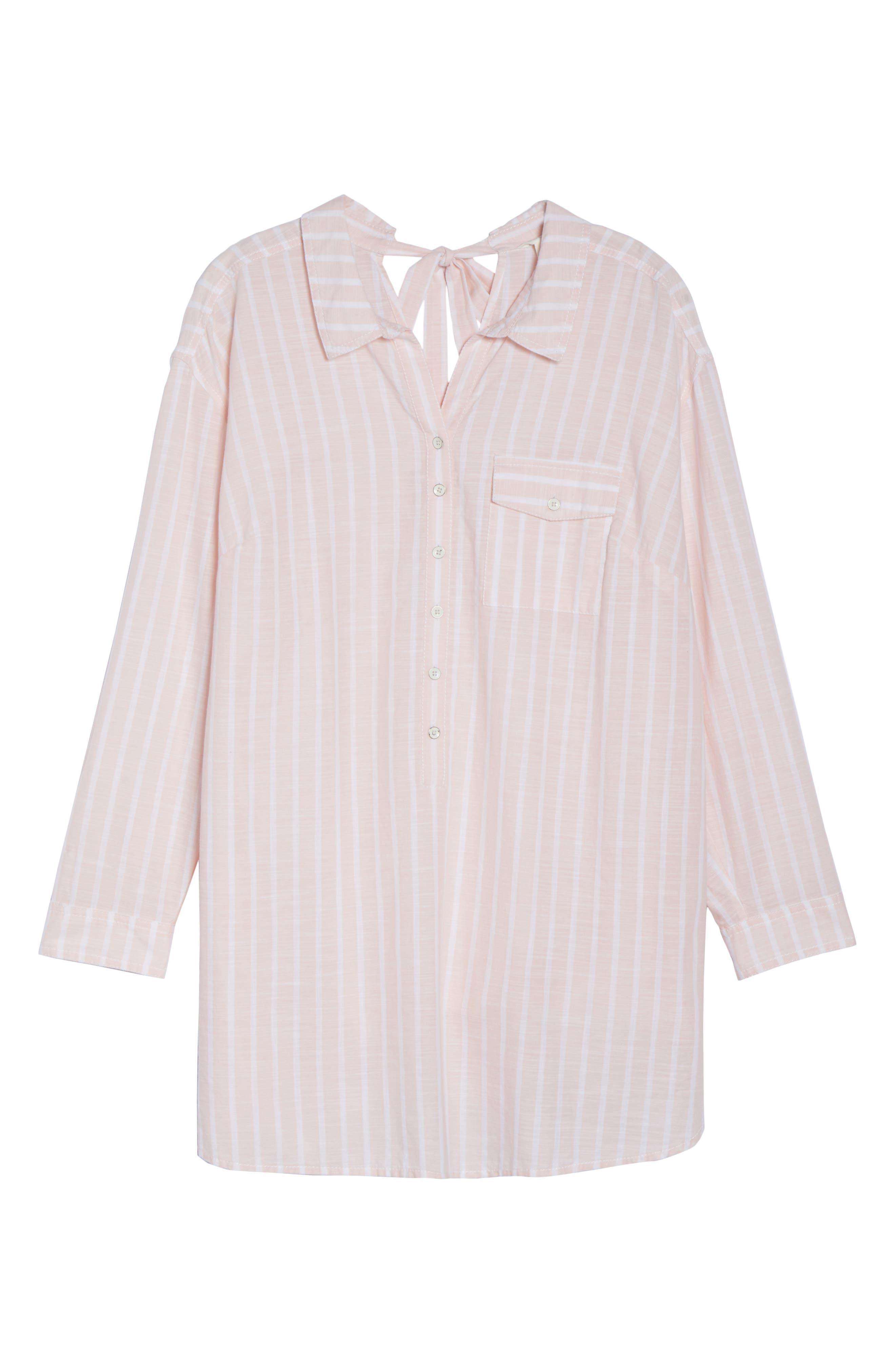 Caslon® Tie Neck Cotton Tunic (Plus Size)