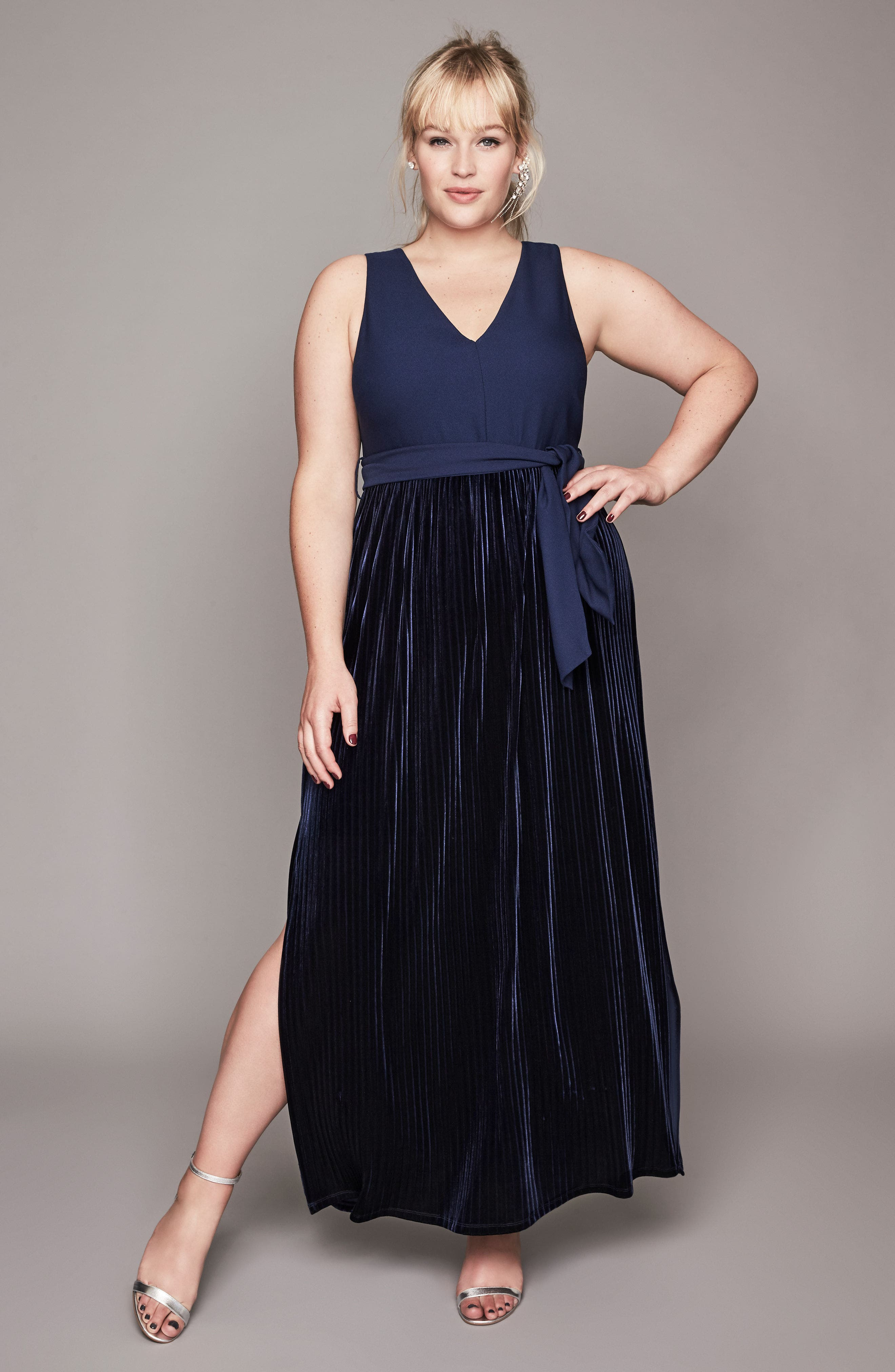 Alternate Image 8  - LOST INK Crepe & Pleat Velvet Maxi Dress (Plus Size)