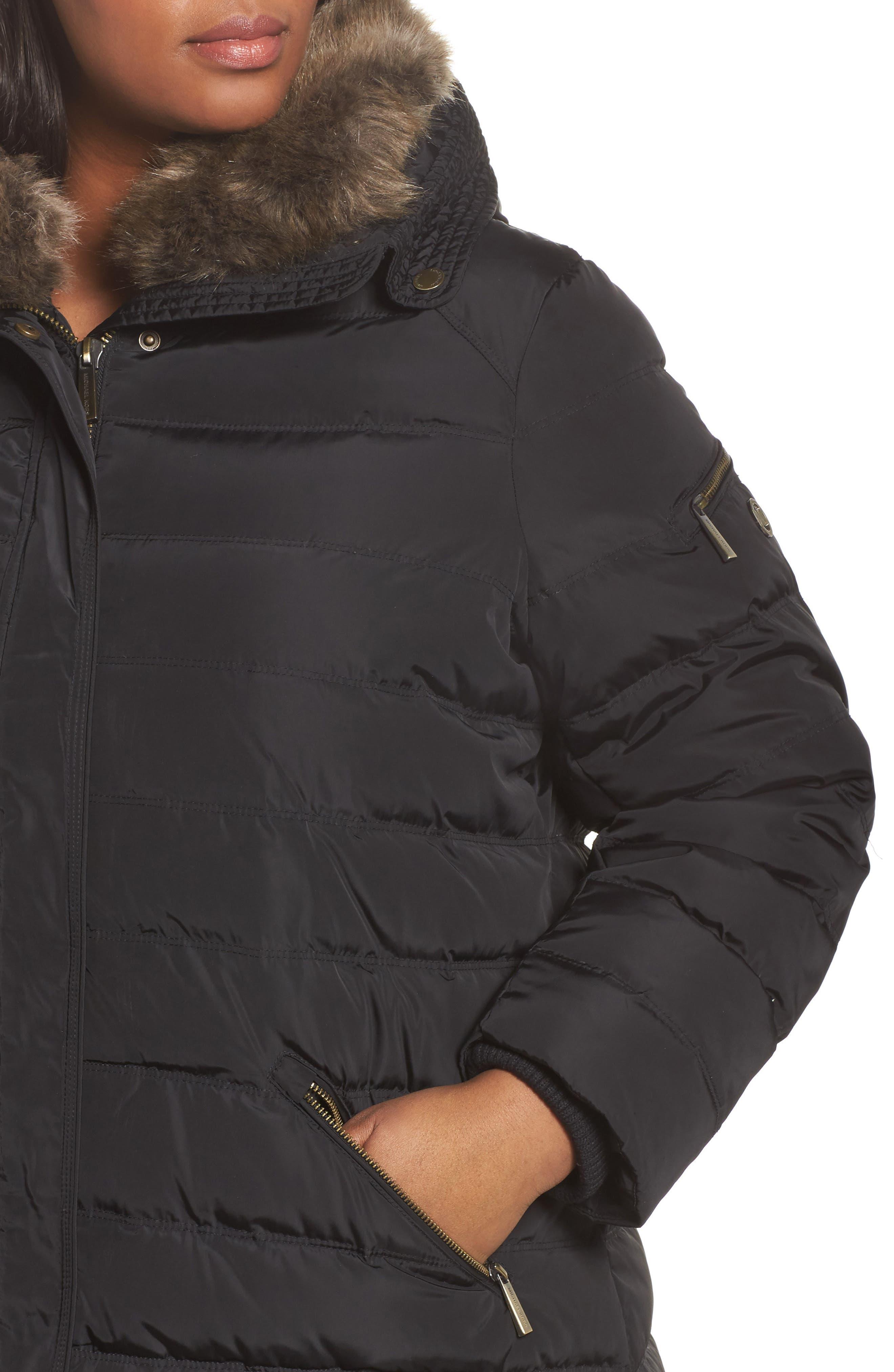Alternate Image 4  - MICHAEL Michael Kors Down & Feather Hooded Coat with Faux Fur Trim (Plus Size)