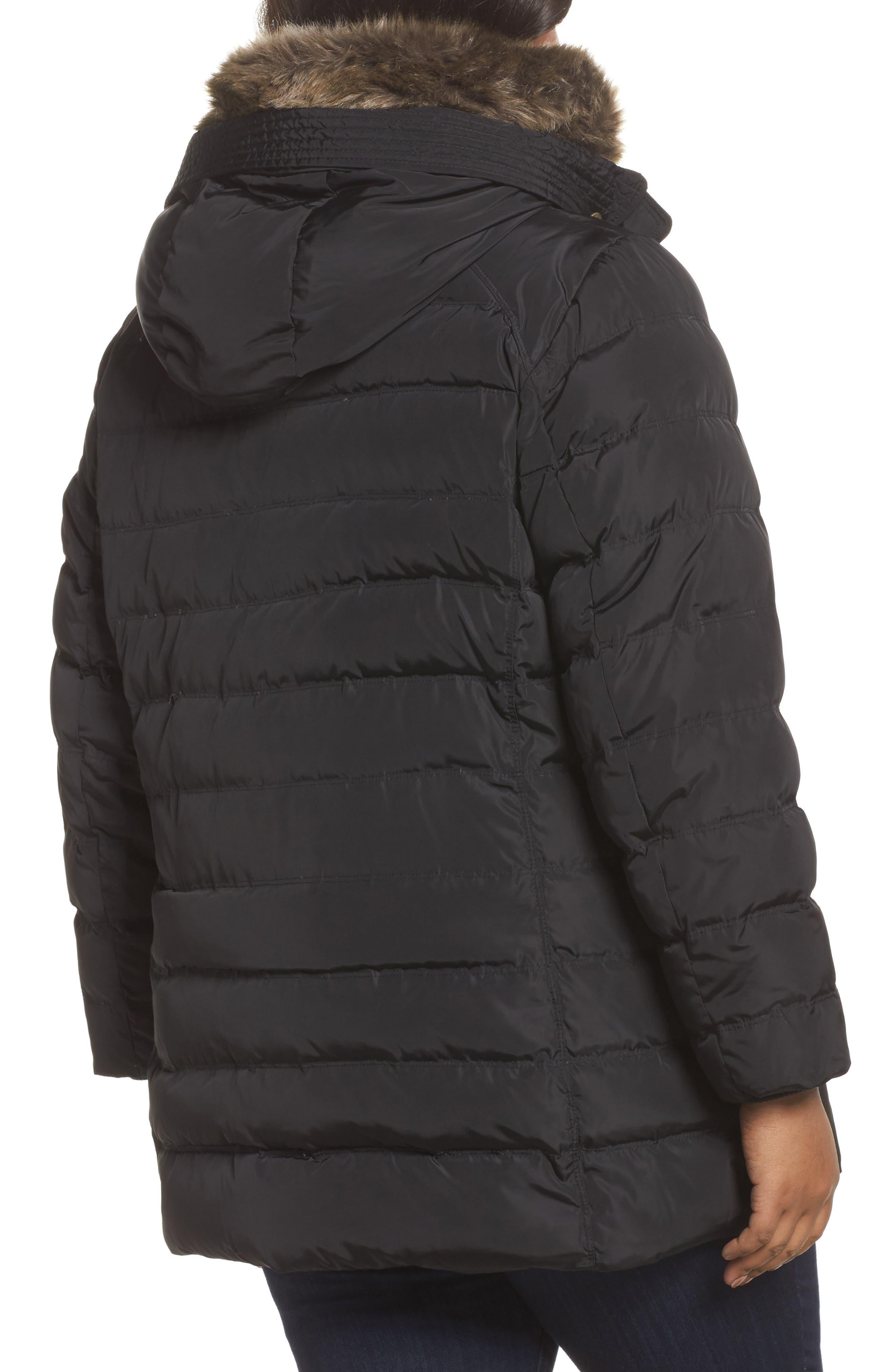 Alternate Image 2  - MICHAEL Michael Kors Down & Feather Hooded Coat with Faux Fur Trim (Plus Size)