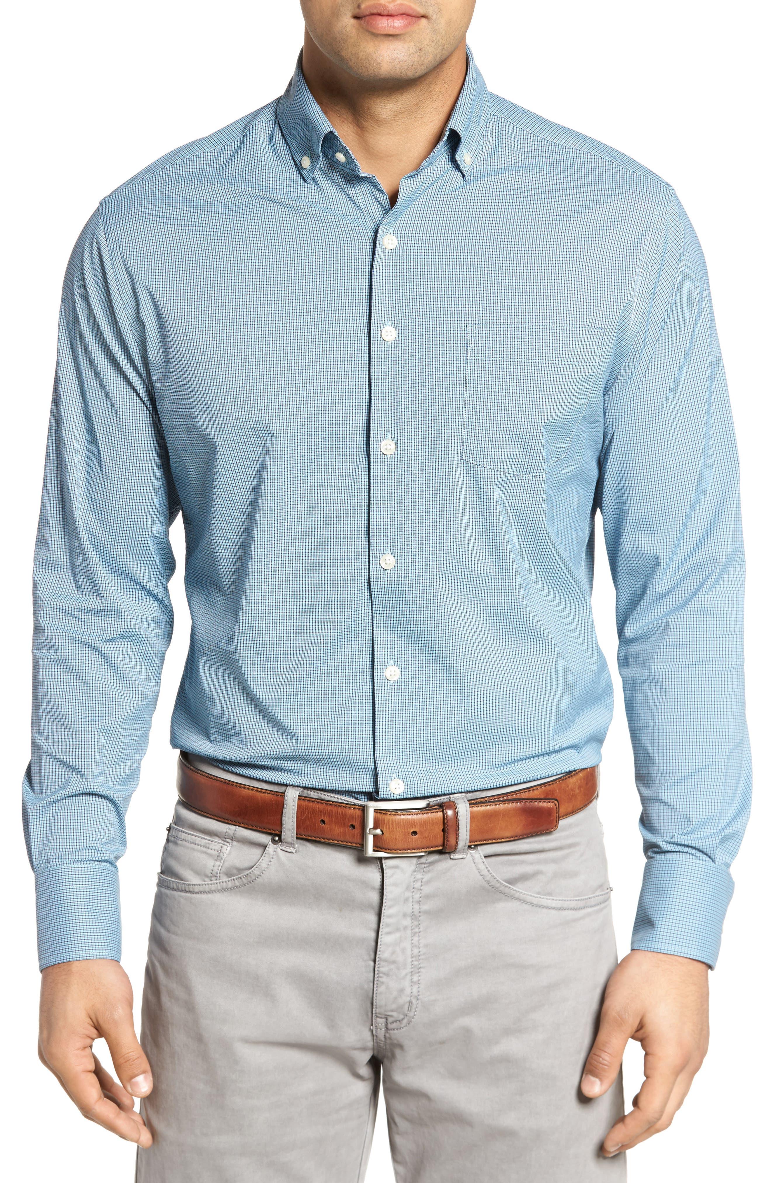 Parsons Regular Fit Performance Sport Shirt,                         Main,                         color, Grotto Blue