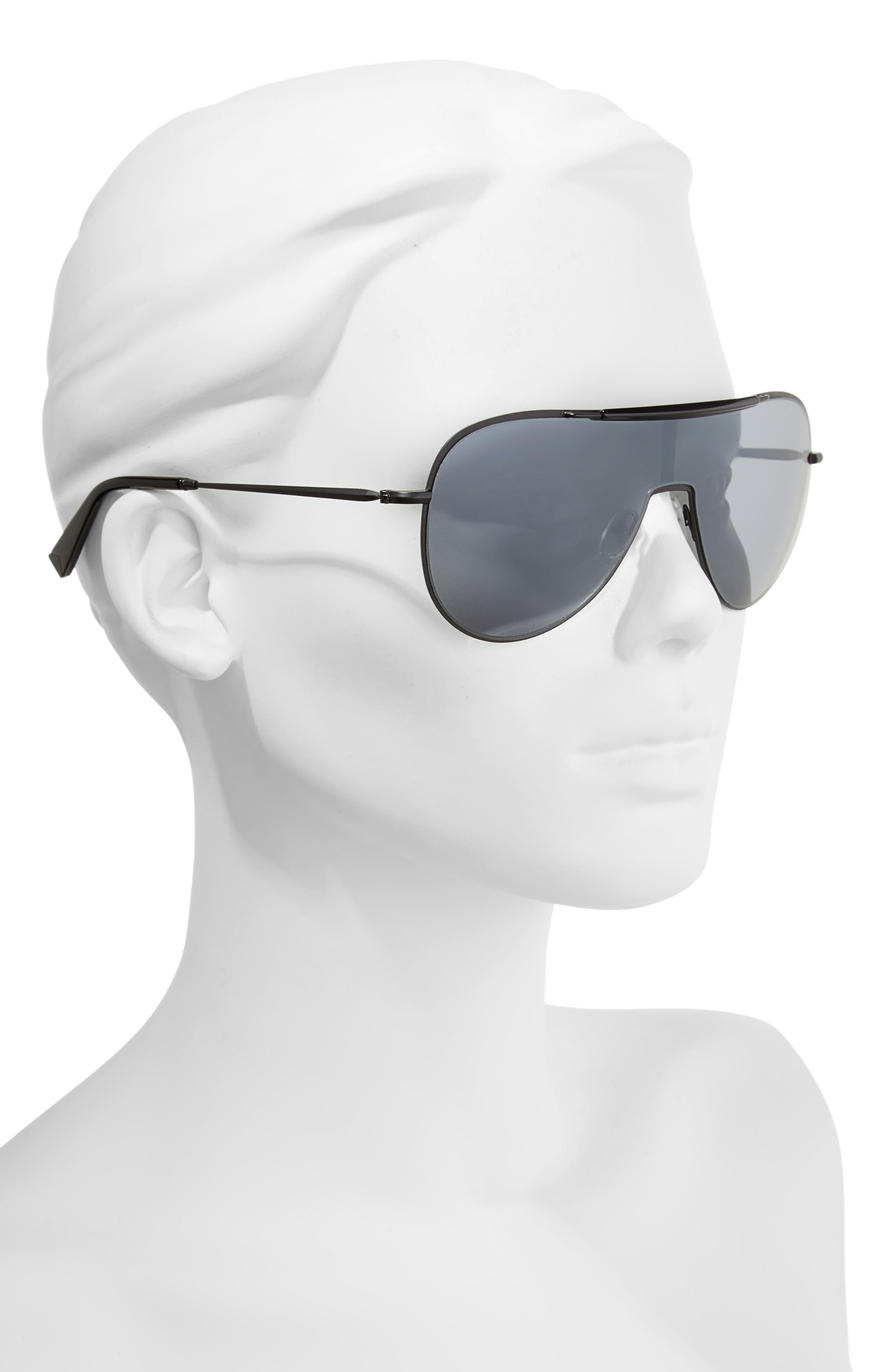 Shield Aviator Sunglasses,                             Alternate thumbnail 2, color,                             Black/ Black