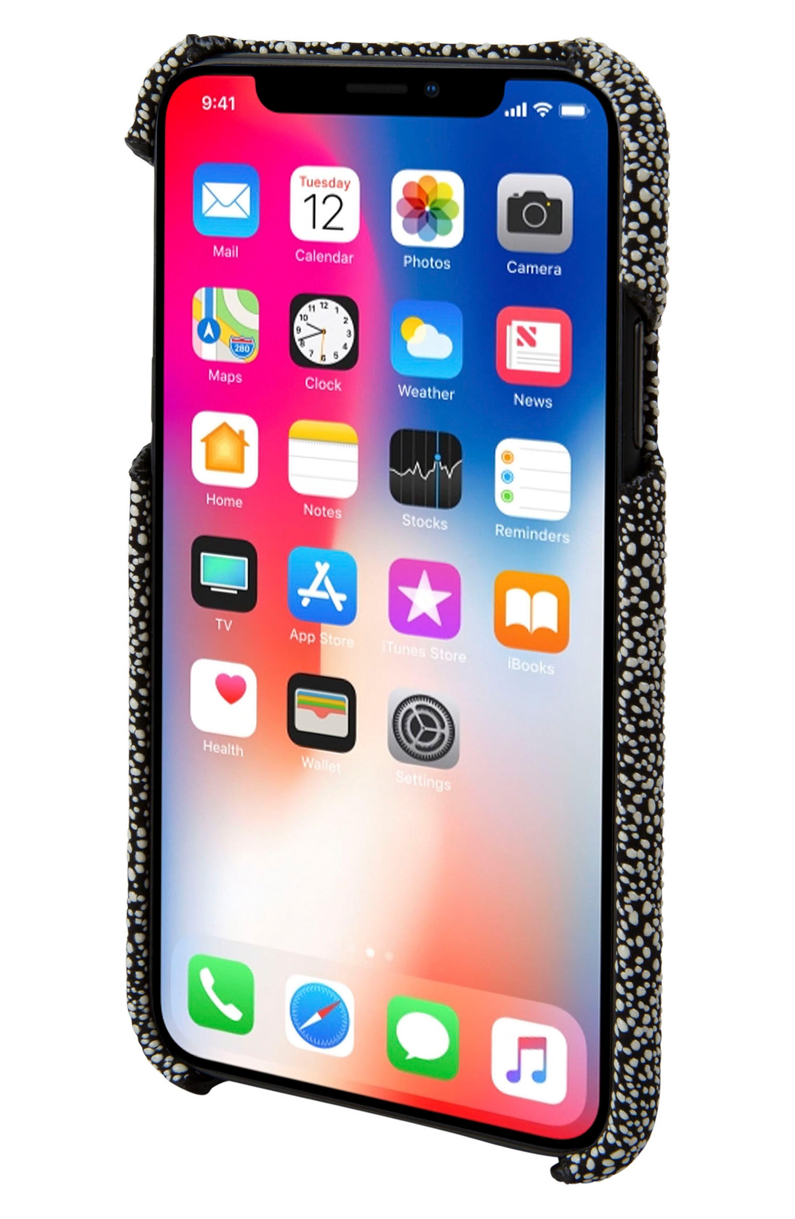 Solo iPhone X Wallet Case,                             Alternate thumbnail 4, color,                             Black/ White Stingray