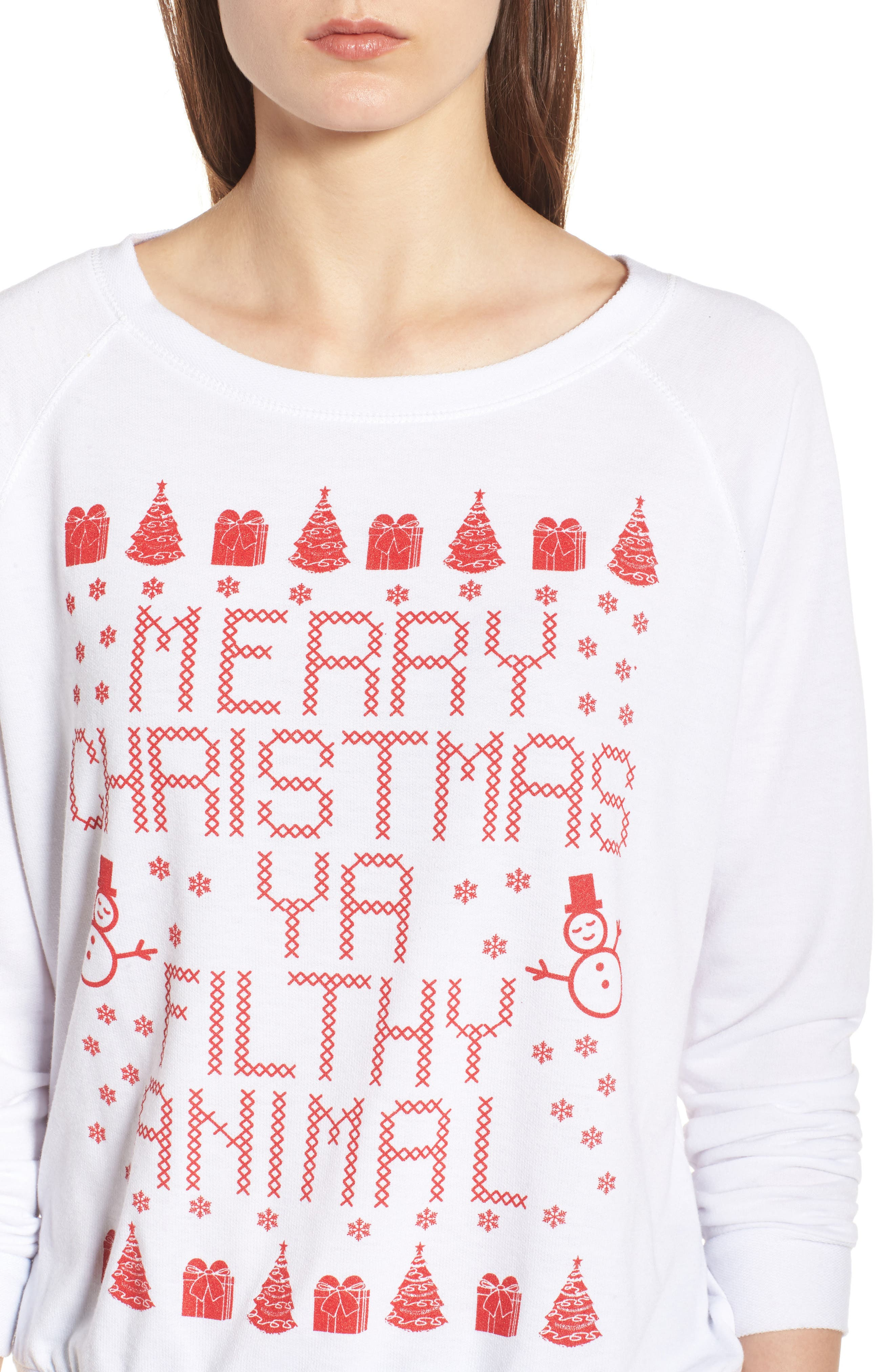 Merry Christmas Ya Filthy Animal Sweatshirt,                             Alternate thumbnail 5, color,                             White