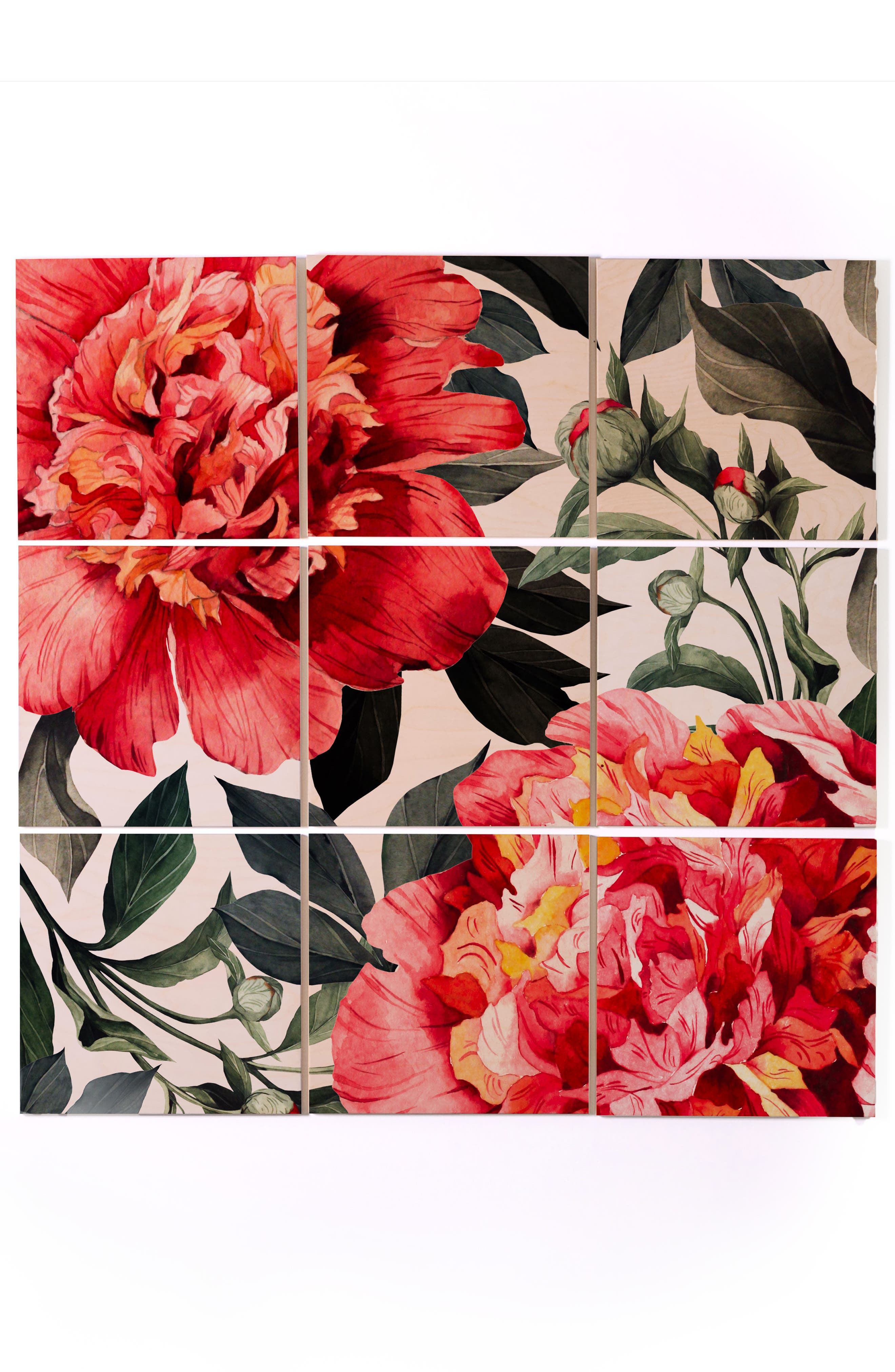 Main Image - Deny Designs Red Flowers 9-Piece Wood Wall Mural