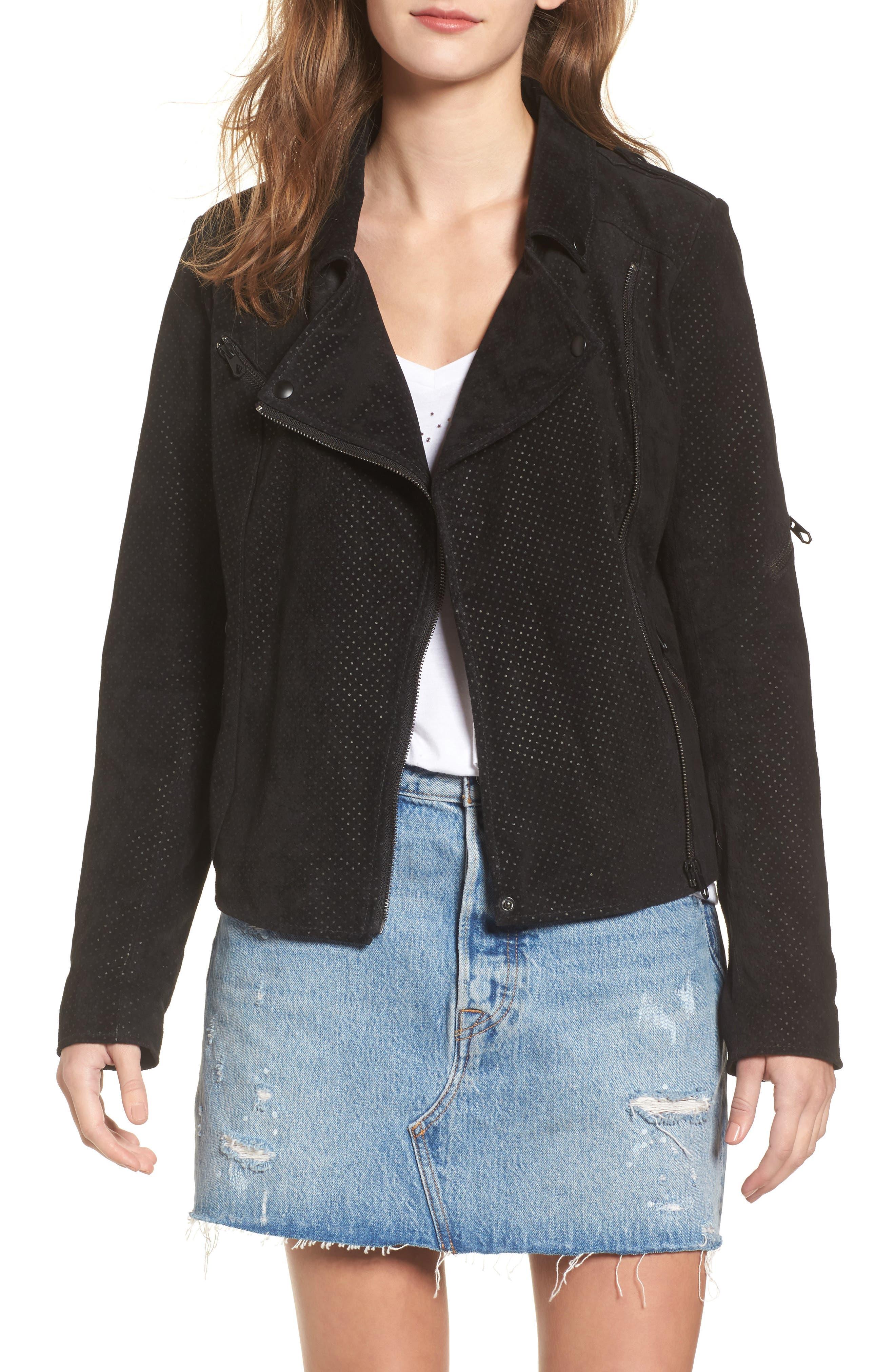 Motorin Suede Jacket,                         Main,                         color, Black