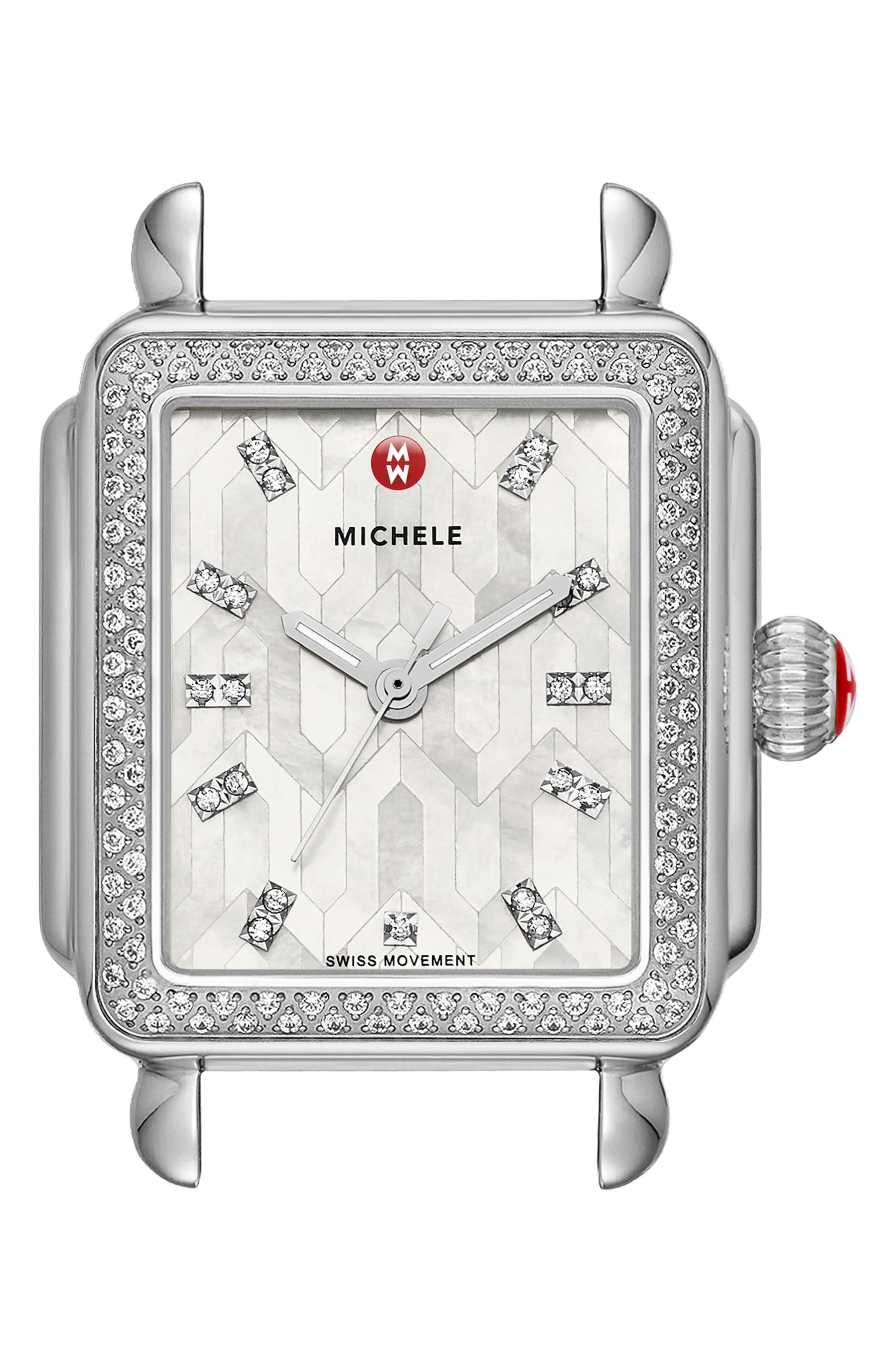 Deco Diamond Watch Head, 33mm x 35mm,                             Main thumbnail 1, color,                             Silver