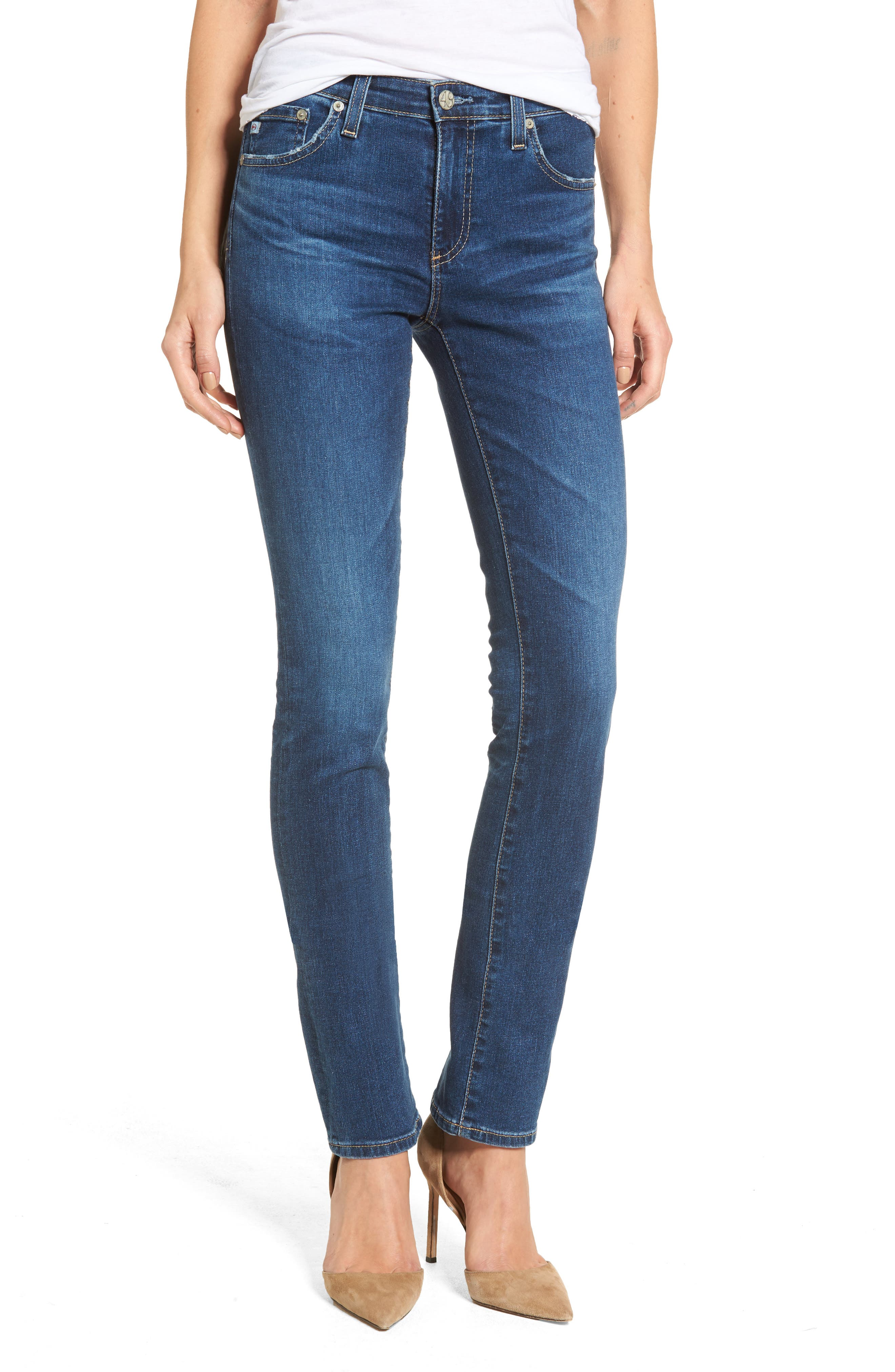 Harper Slim Straight Leg Jeans,                             Main thumbnail 1, color,                             8 Years Blue Portrait